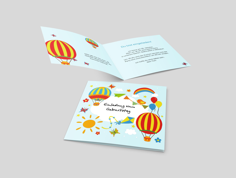 Einladungskarte Kindergeburtstag Ballon