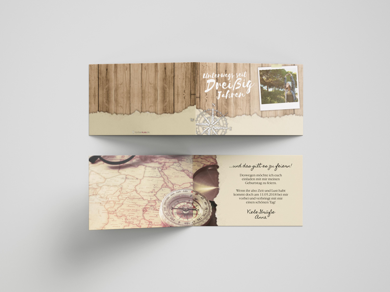 Einladungskarte Geburtstag Kompass