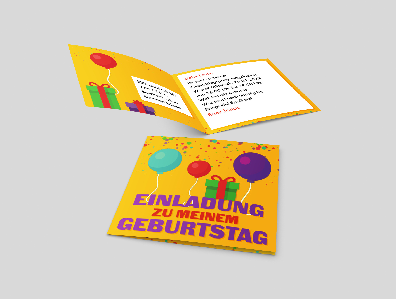 Kindergeburtstagseinladung Geschenke und Luftballons