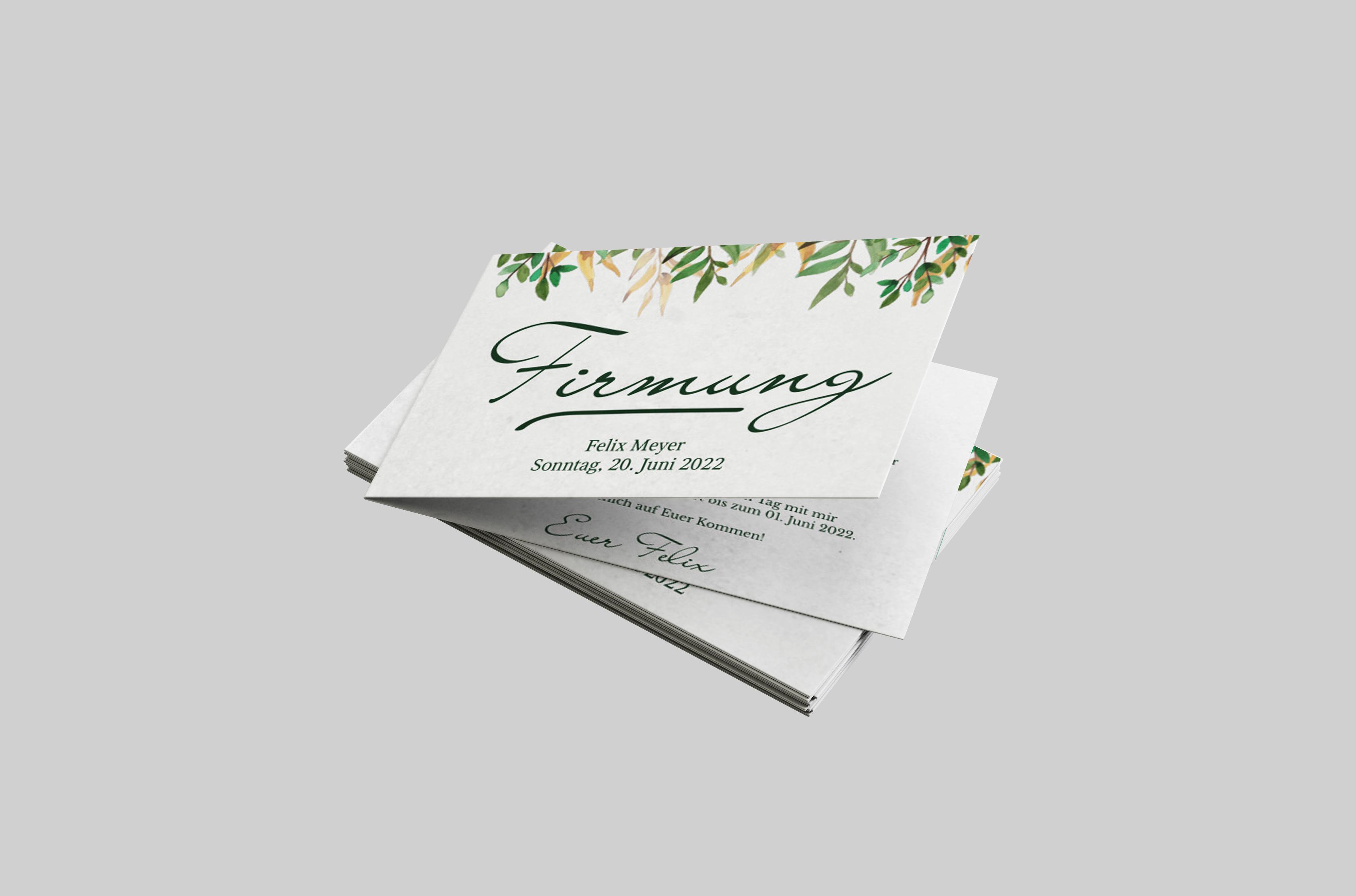 Einladungskarte Firmung Blätter Aquarell