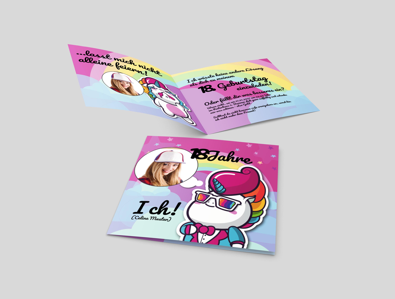 Einladungskarte Geburtstag Party Unicorn