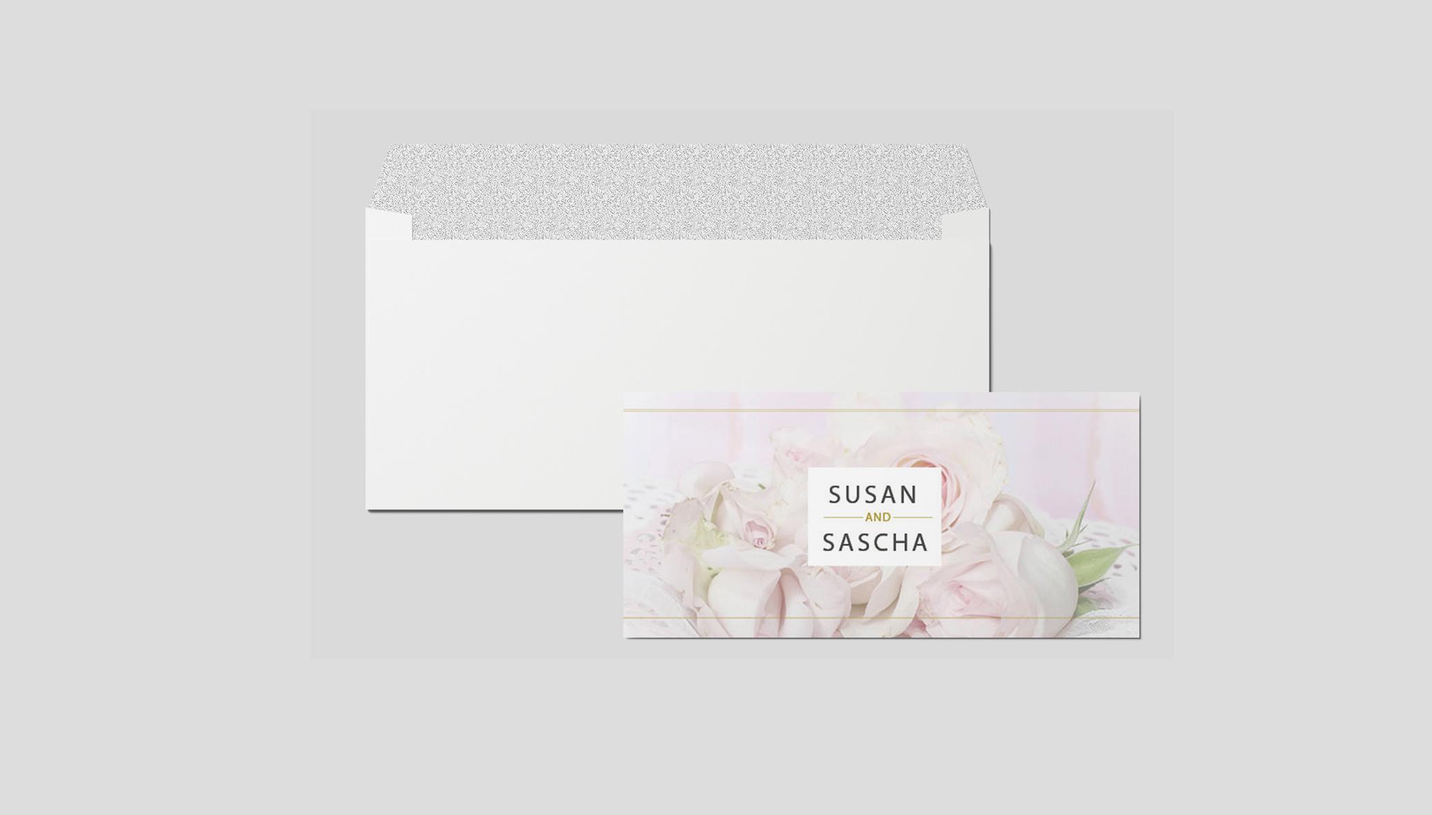 Einladungskarte Hochzeit Rosenzweige