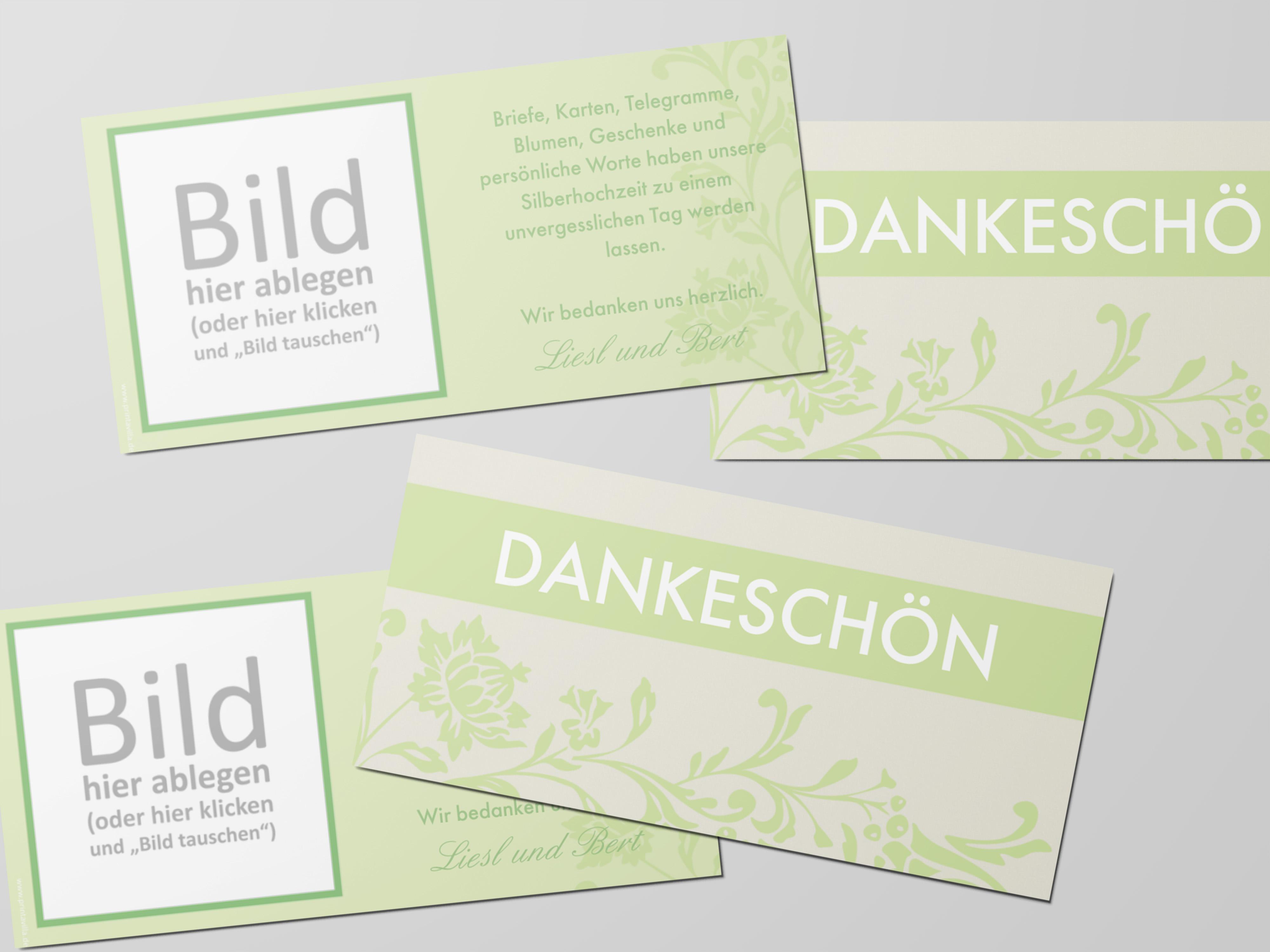 Danksagungskarte Silberhochzeit Blumenornament