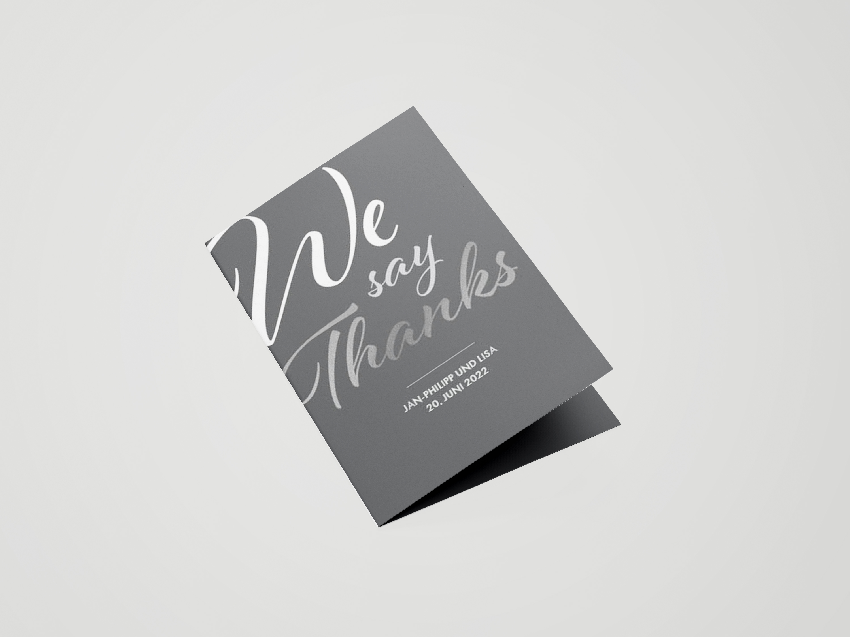 Dankeskarte Hochzeit Metallic