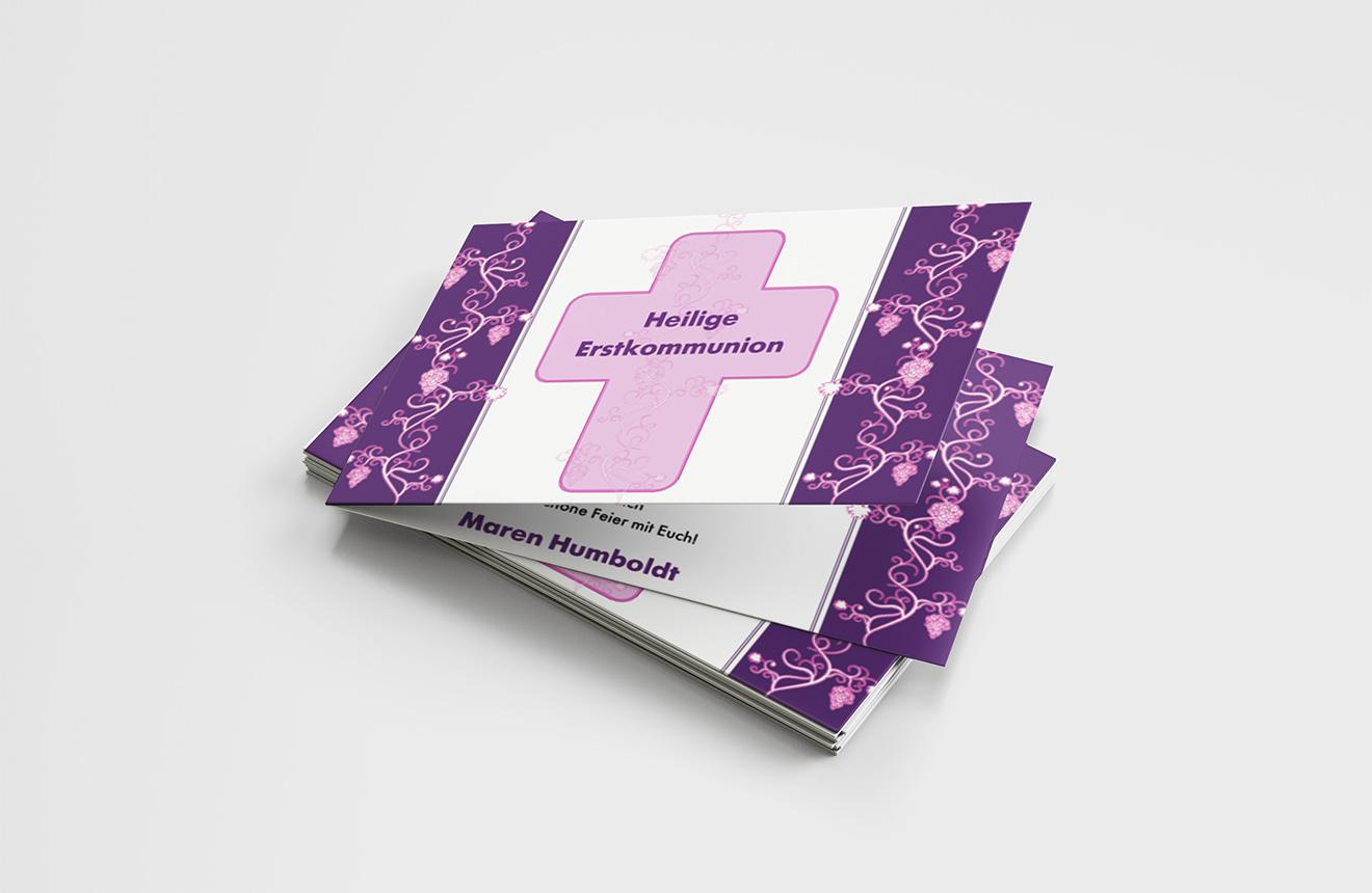 Einladungskarte Erstkommunion Kreuz und Ranken