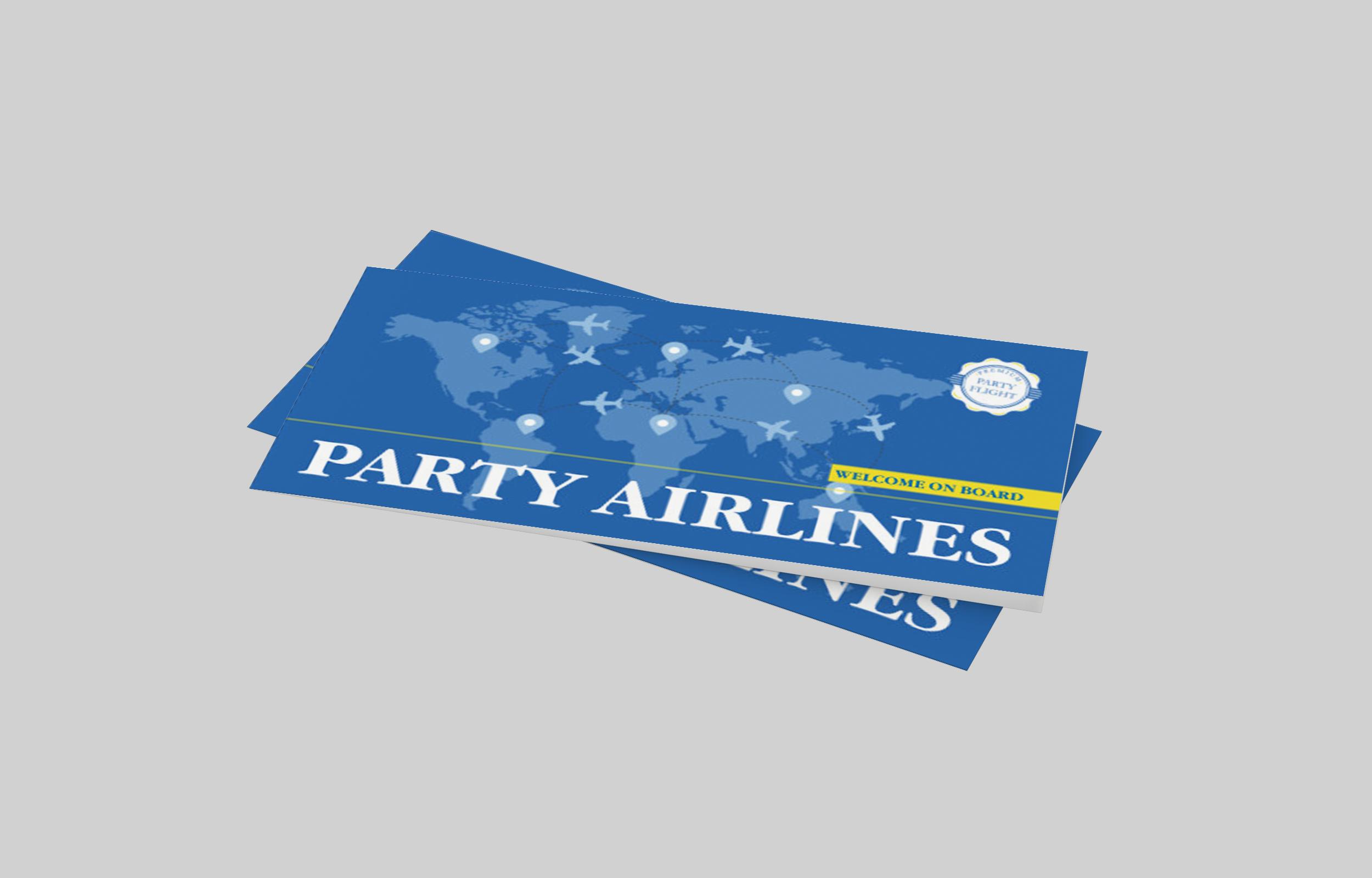 Einladungskarte Geburtstag Flugticket