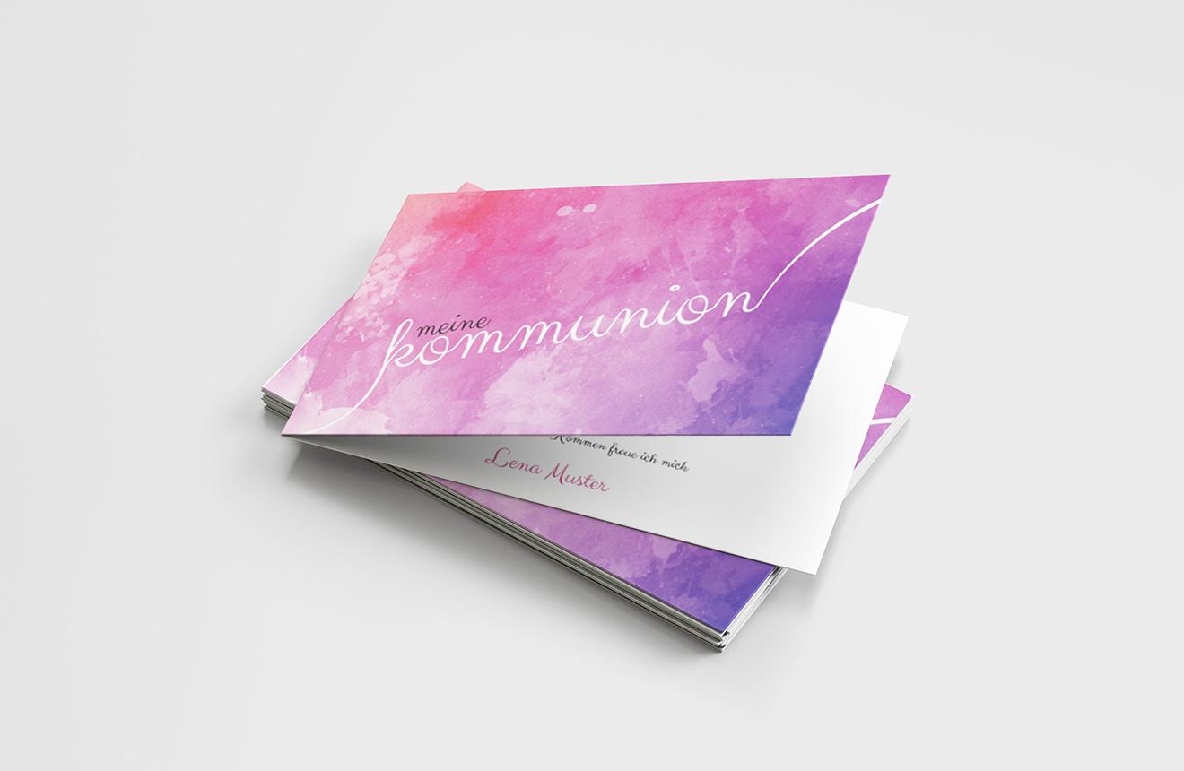 Einladungskarte Kommunion Handschrift Sprenkel
