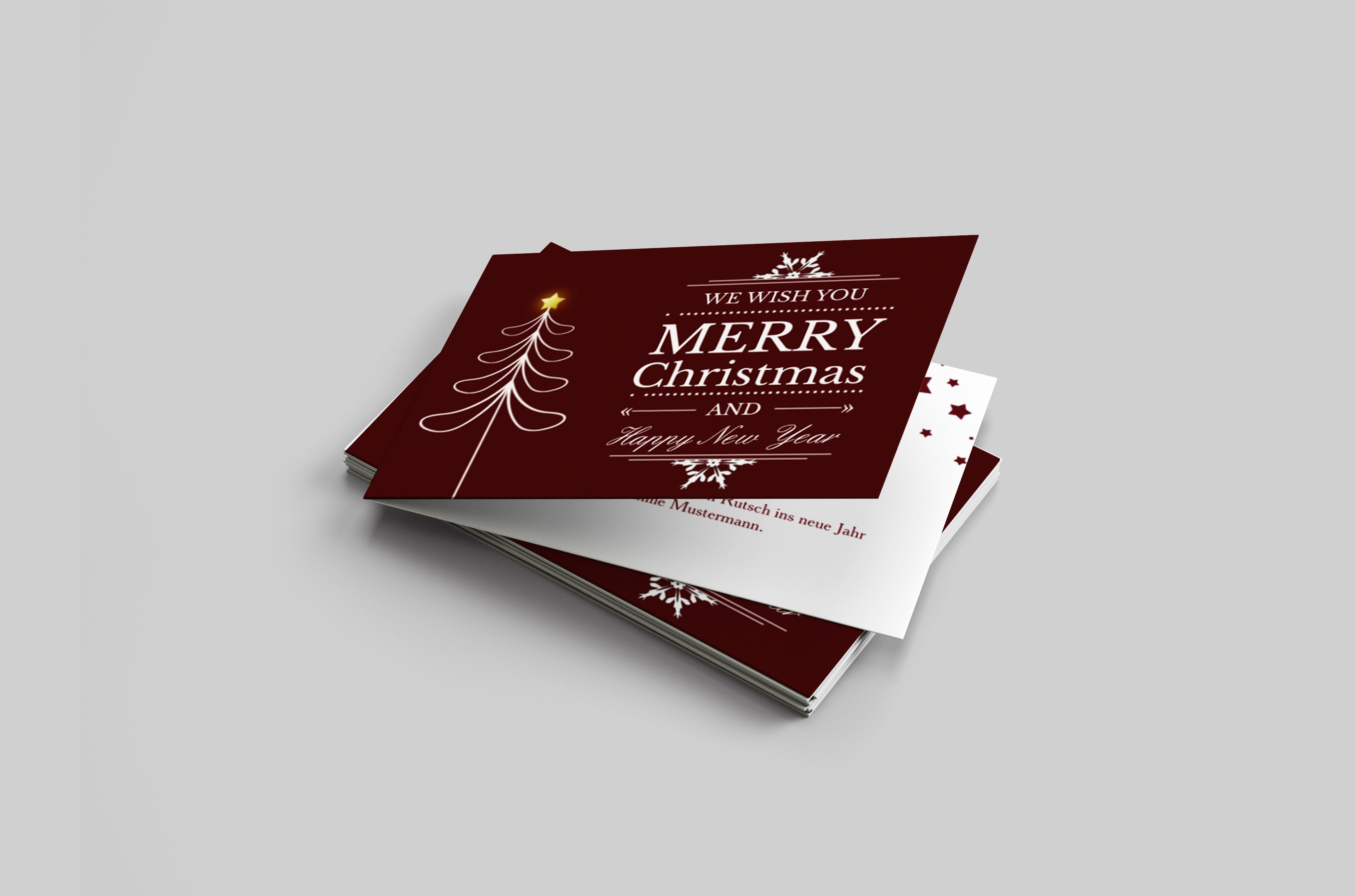 Weihnachtskarte Schriftenbaum