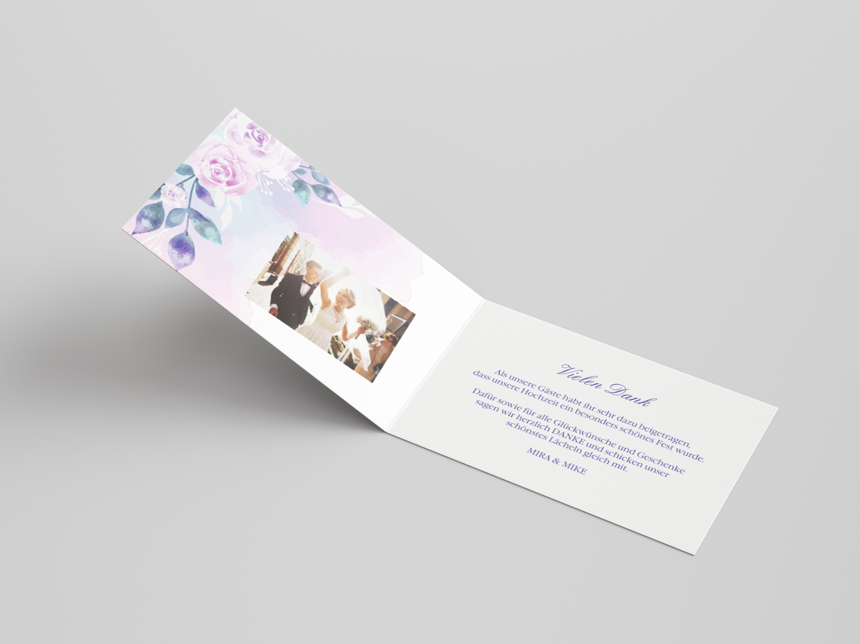 Danksagungskarte Hochzeit Blumen Aquarell