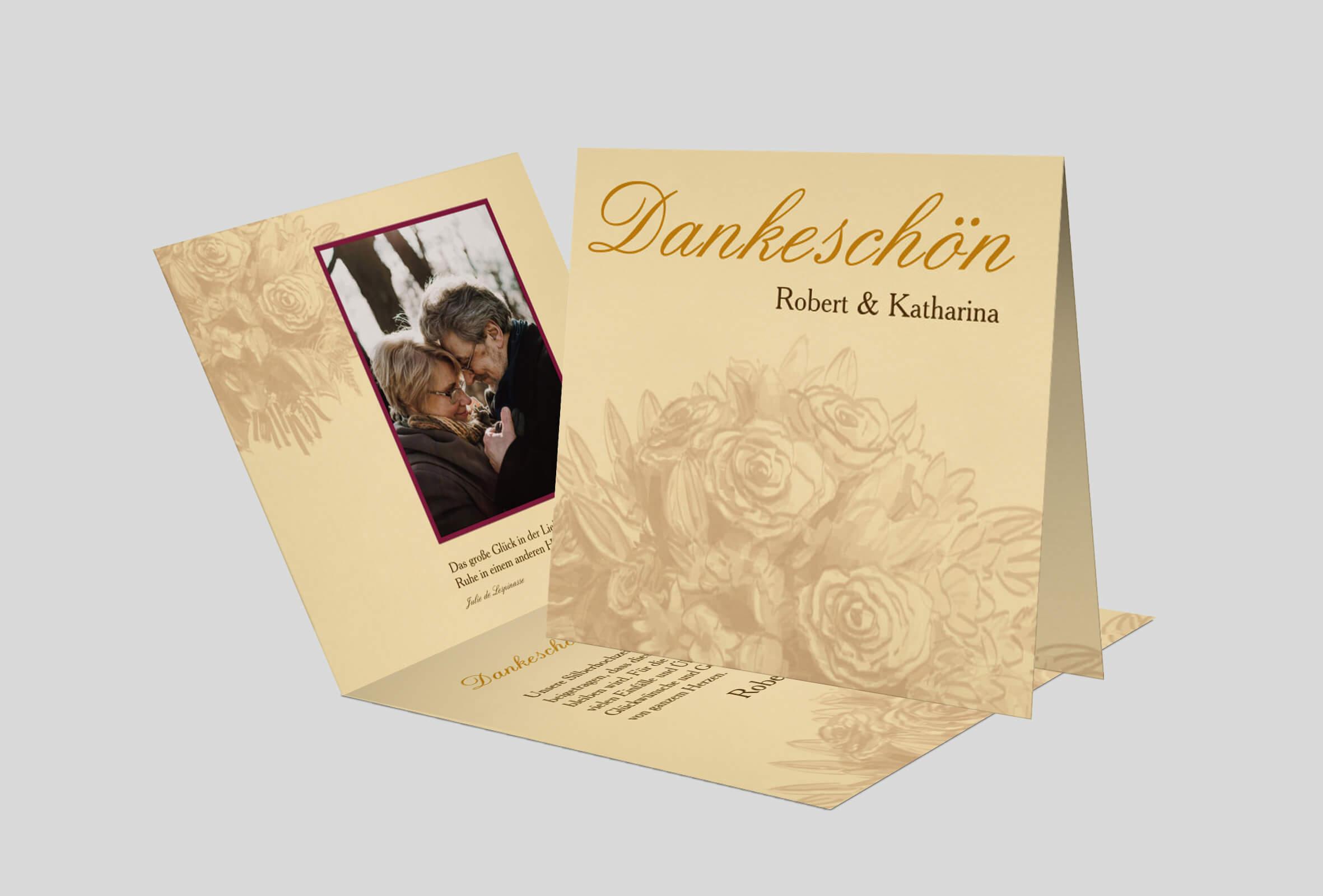 Dankeskarte Silberhochzeit Rosenstrauss Zeichnung