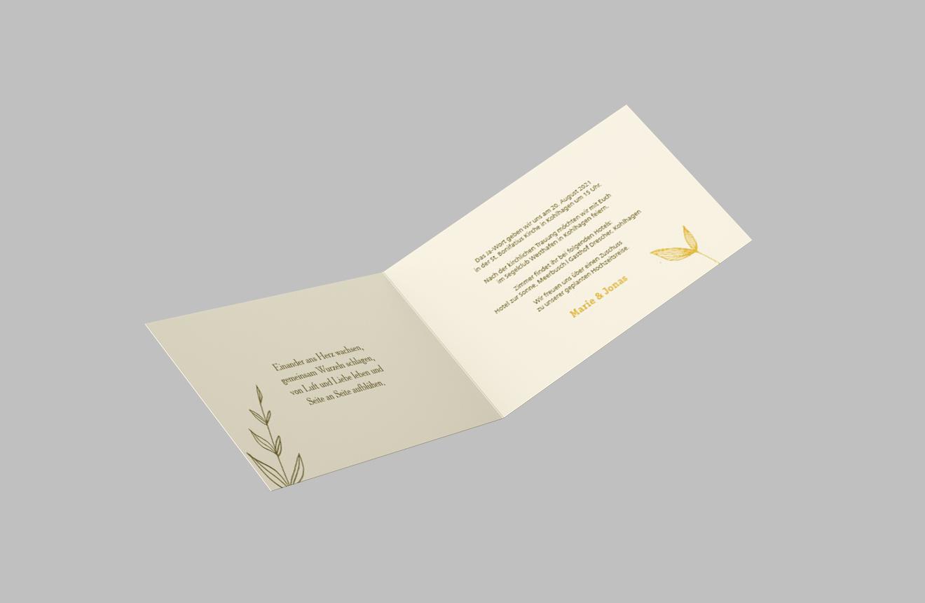 Einladungskarte Hochzeit Naturranken