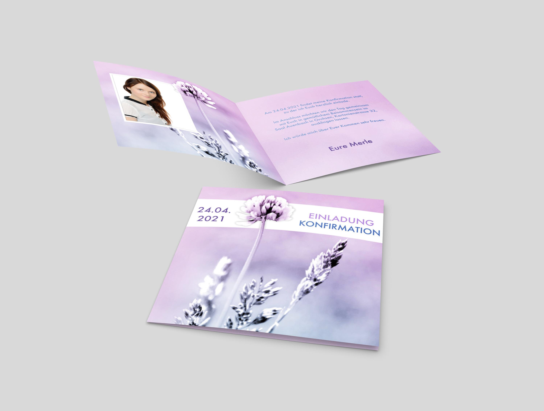 Einladungskarte Konfirmation Kleeblüte