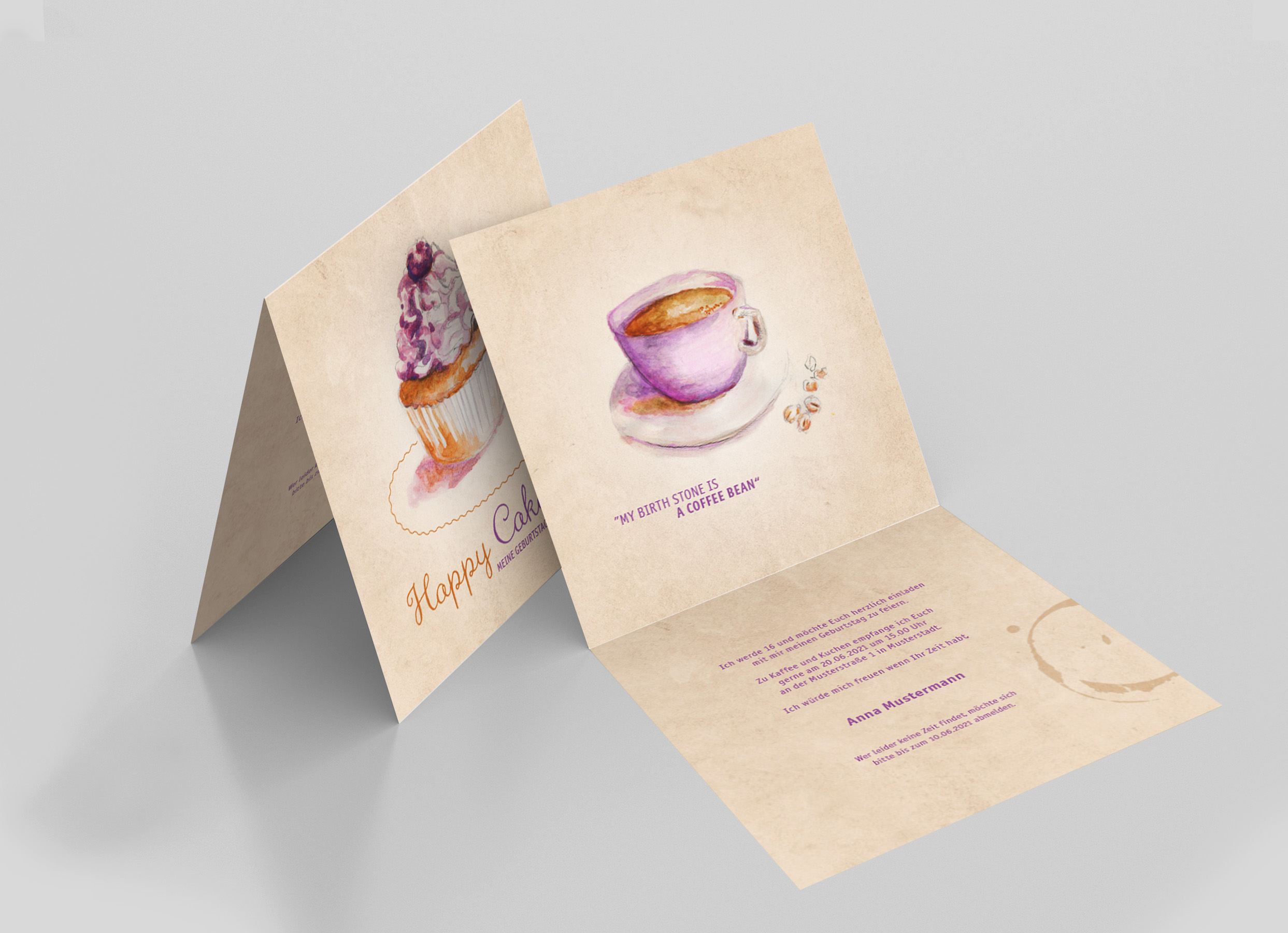 Einladungskarte Geburtstag Cupcake