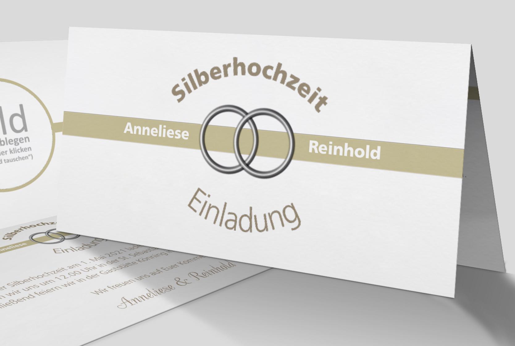 Einladungskarte Silberhochzeit Eheringe