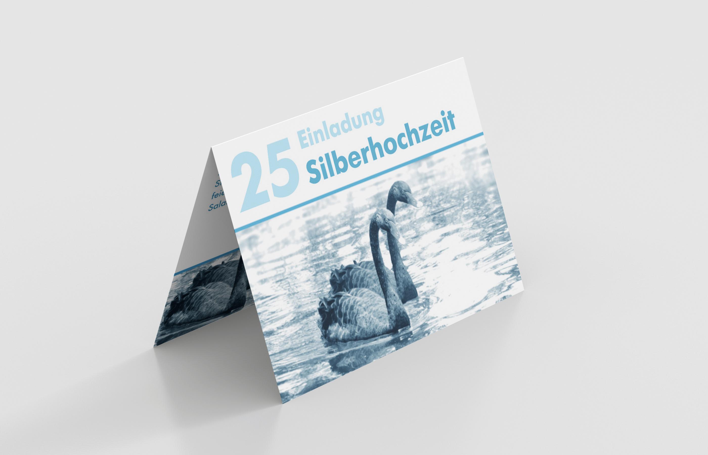 Einladungskarte Silberhochzeit Schwanenpaar