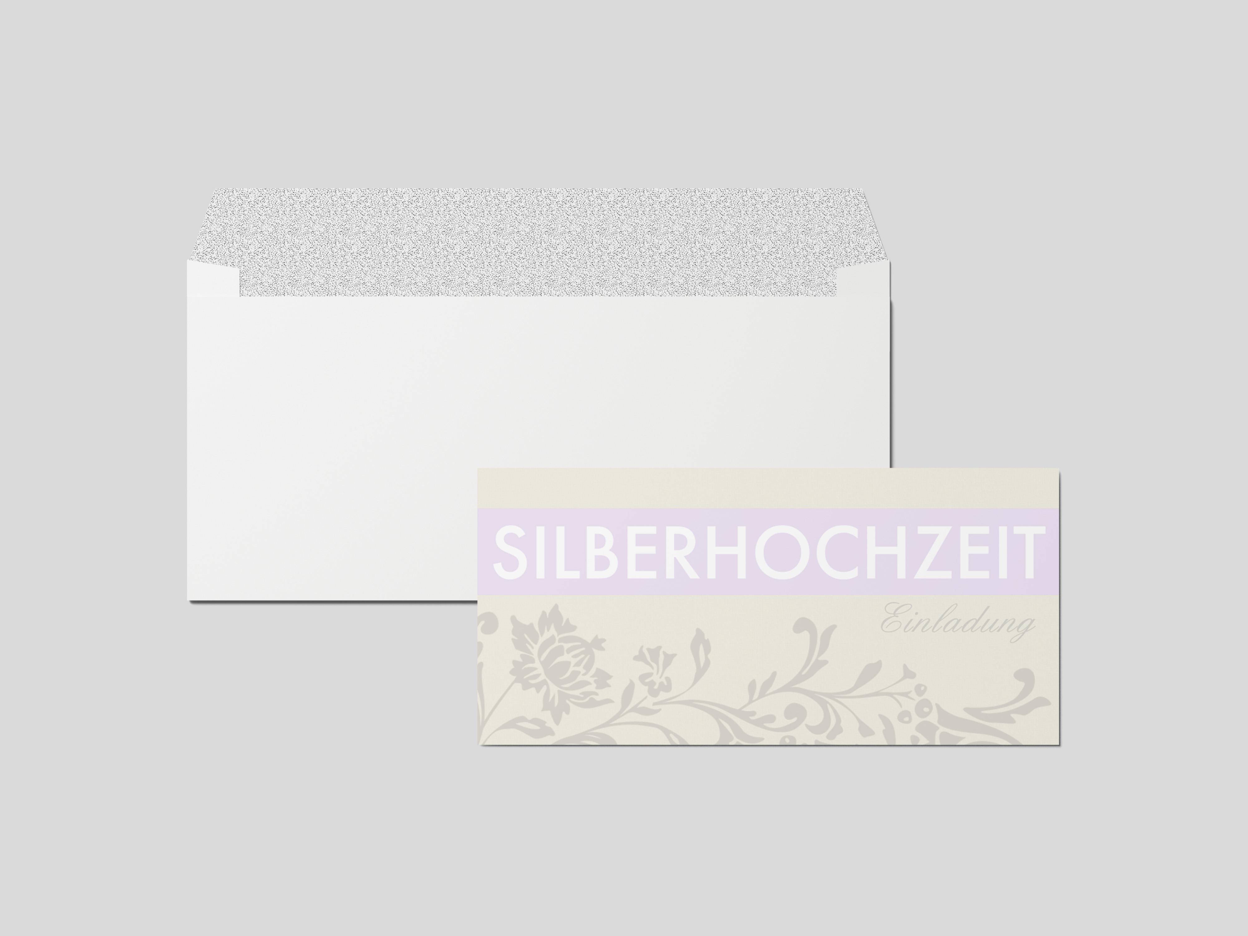 Einladungskarte Silberhochzeit Blumen Ornament