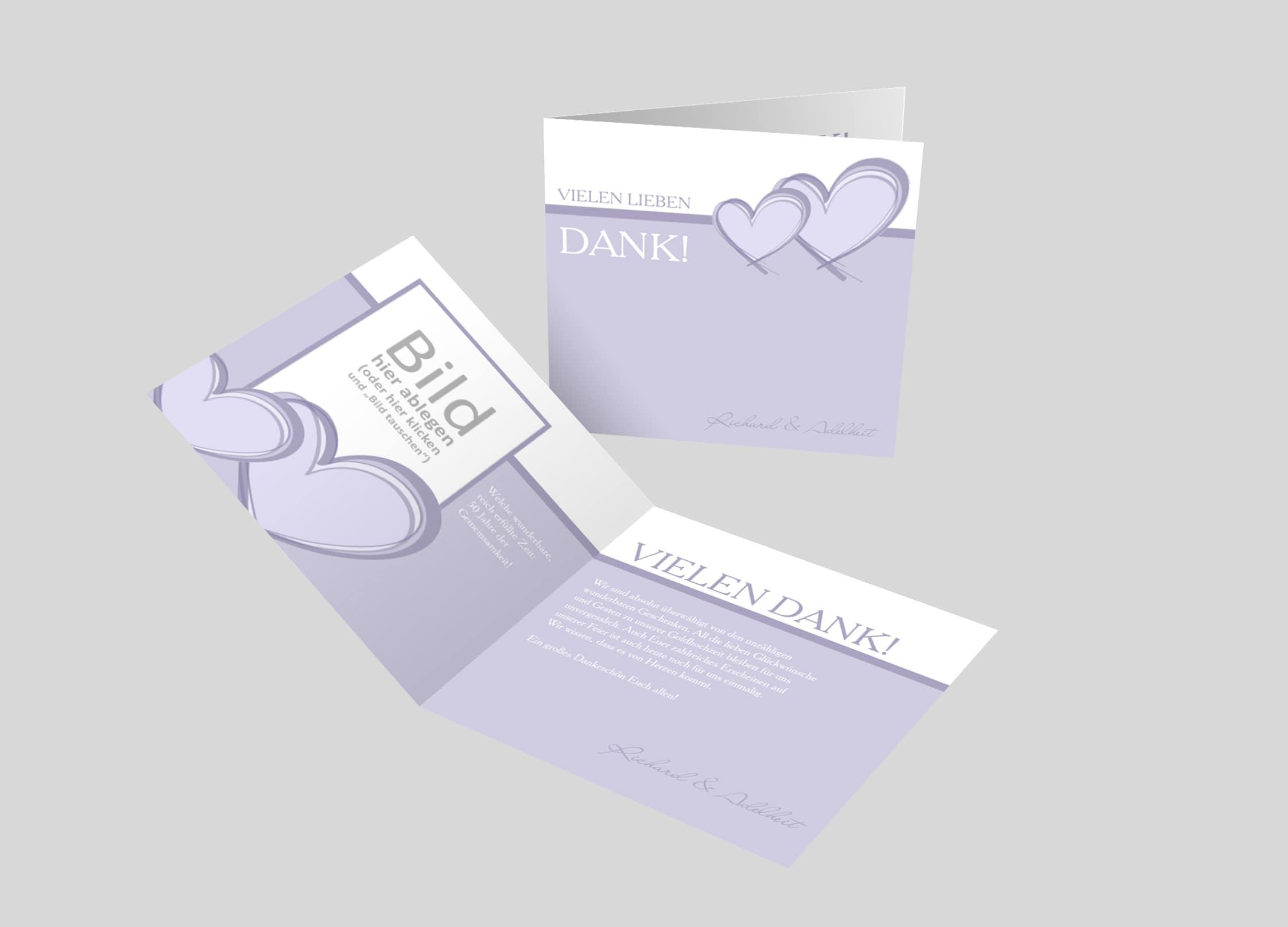 Danksagungskarte Goldene Hochzeit 2 Herzen