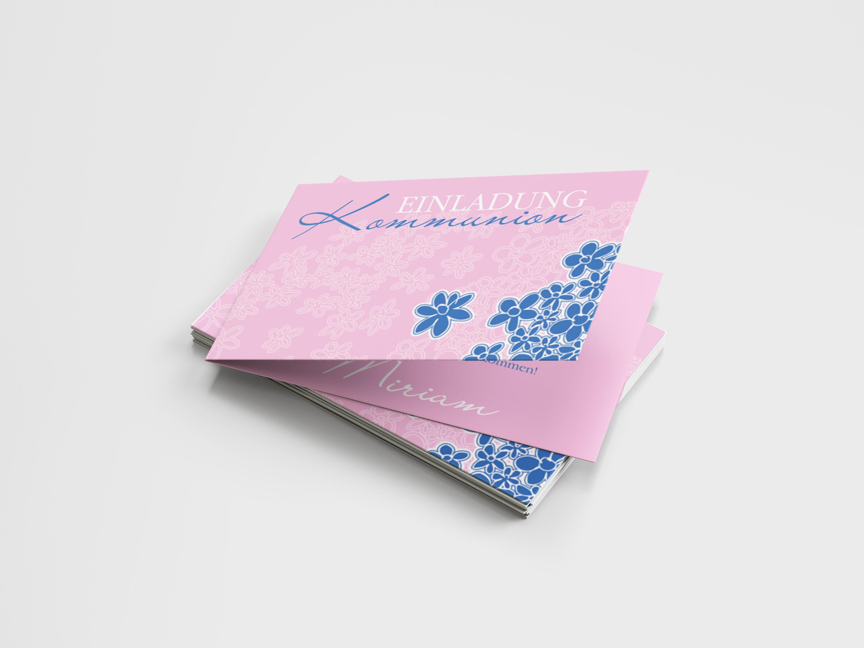 Einladungskarte Kommunion Blumenmeer