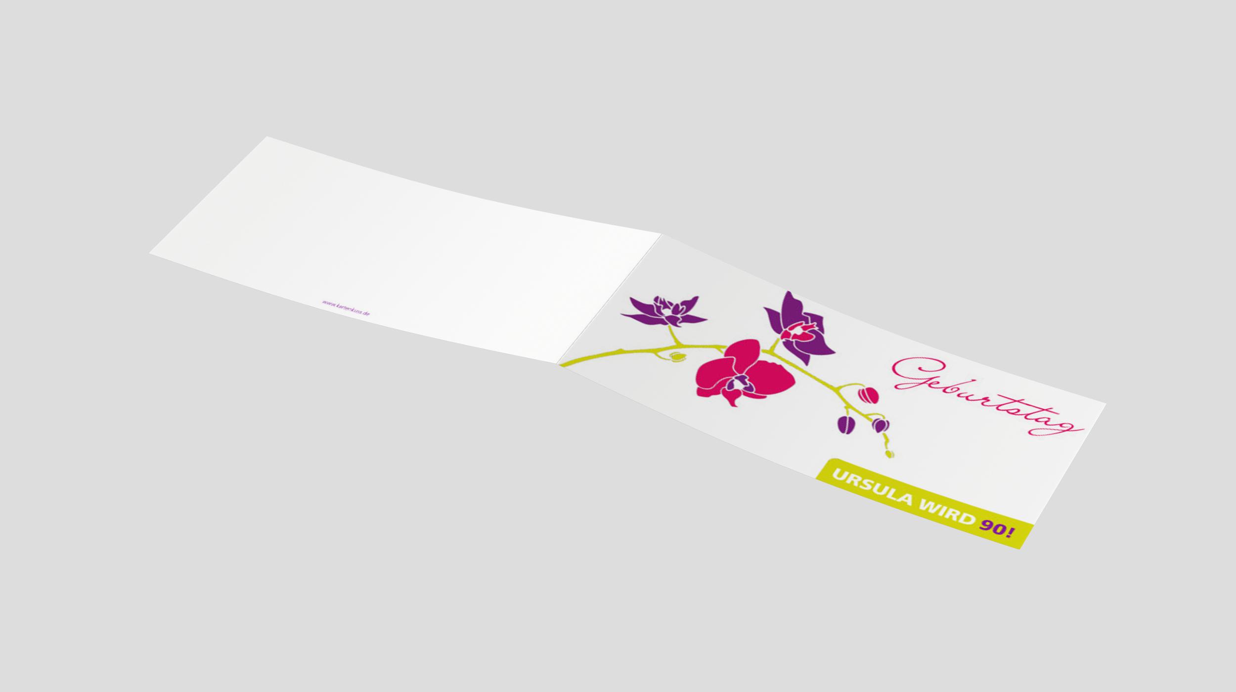 Einladungskarte Geburtstag Orchideenzweig