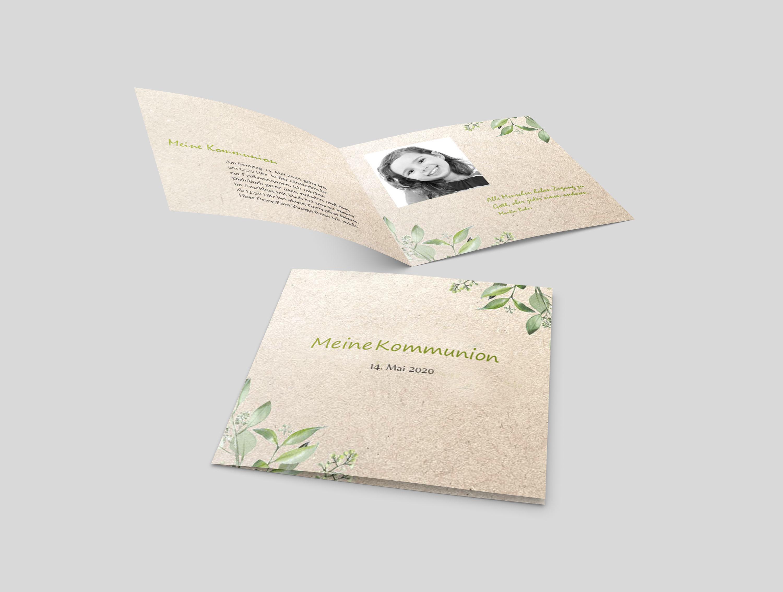 Einladungskarte Kommunion Blumenstil