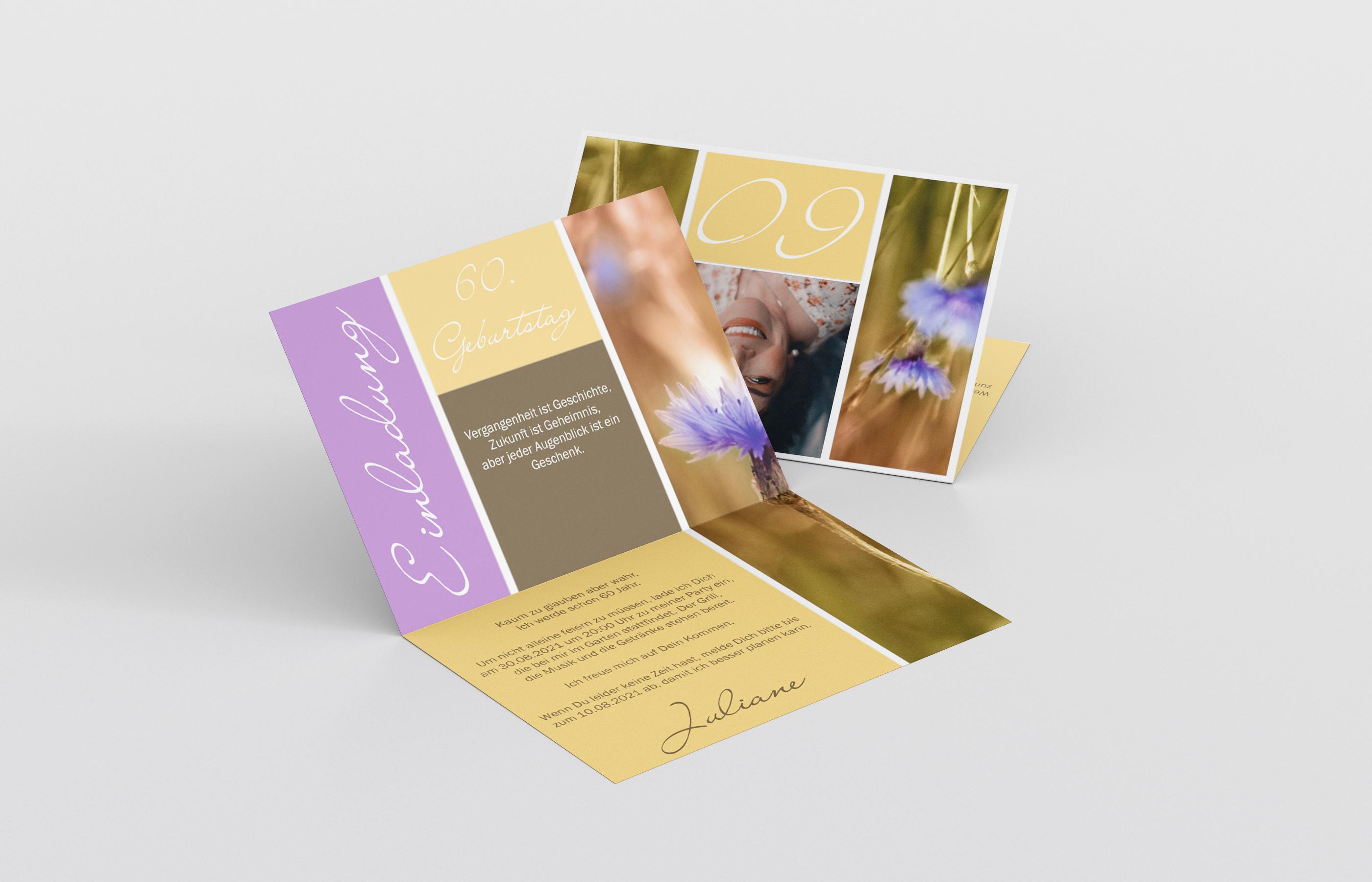 Einladungskarte Geburtstag Mohnblumen