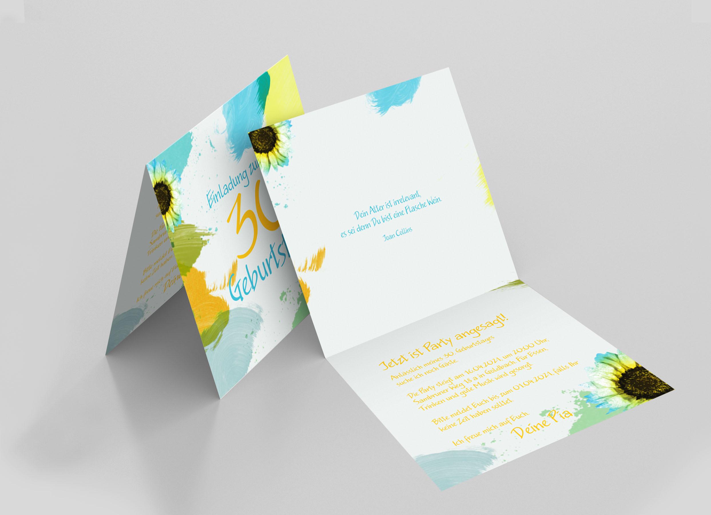 Einladungskarte Geburtstag Blumenaquarell