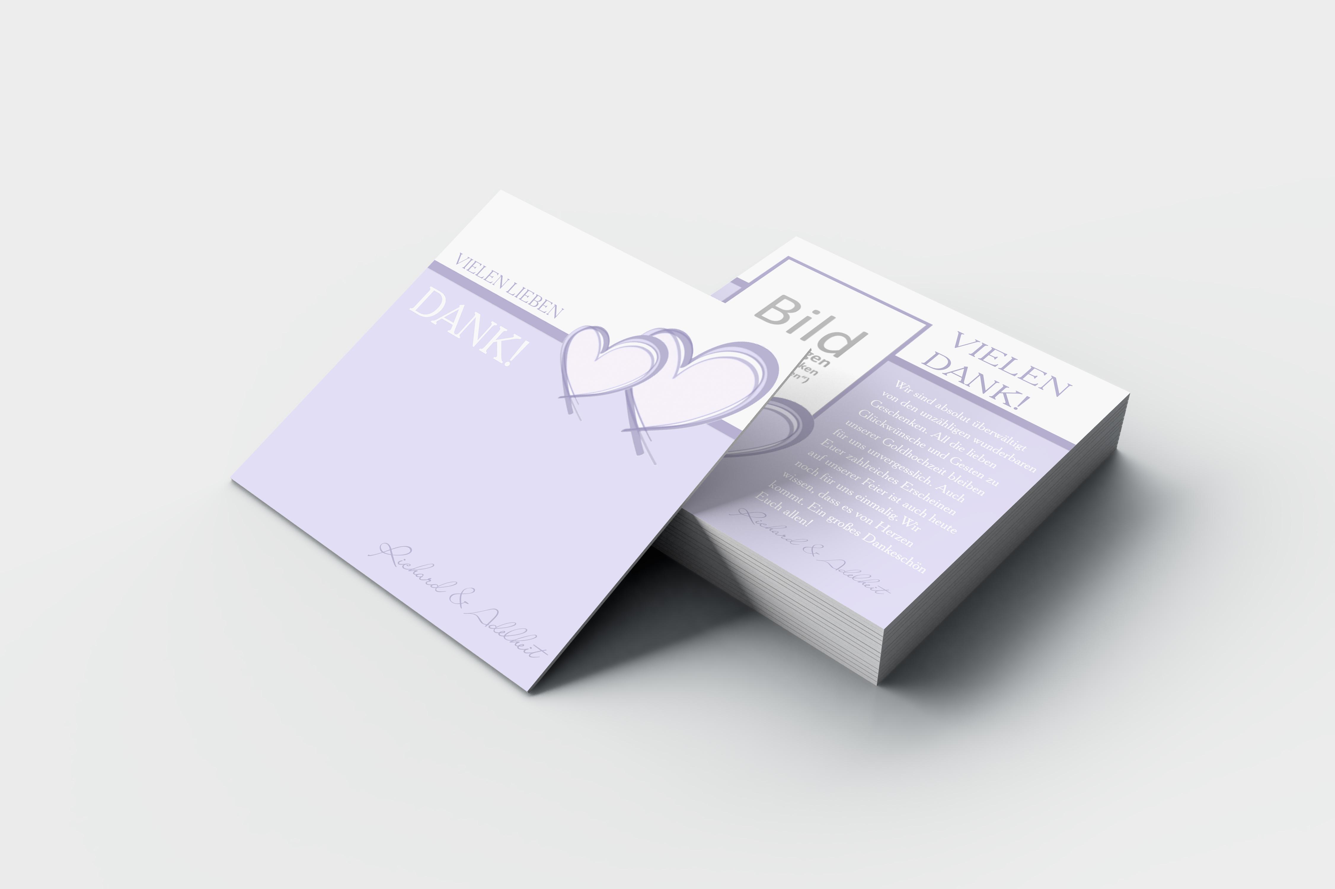 Dankeskarten Goldene Hochzeit 2 Herzen