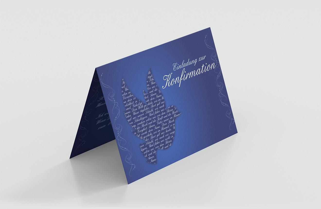 Einladungskarte Konfirmation Gebet Taube