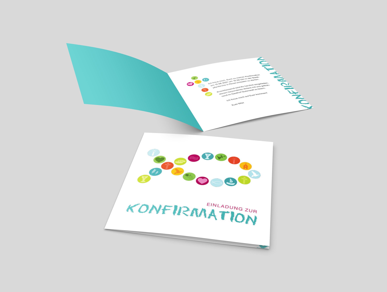 Einladungskarte Konfirmation Symbol Fisch