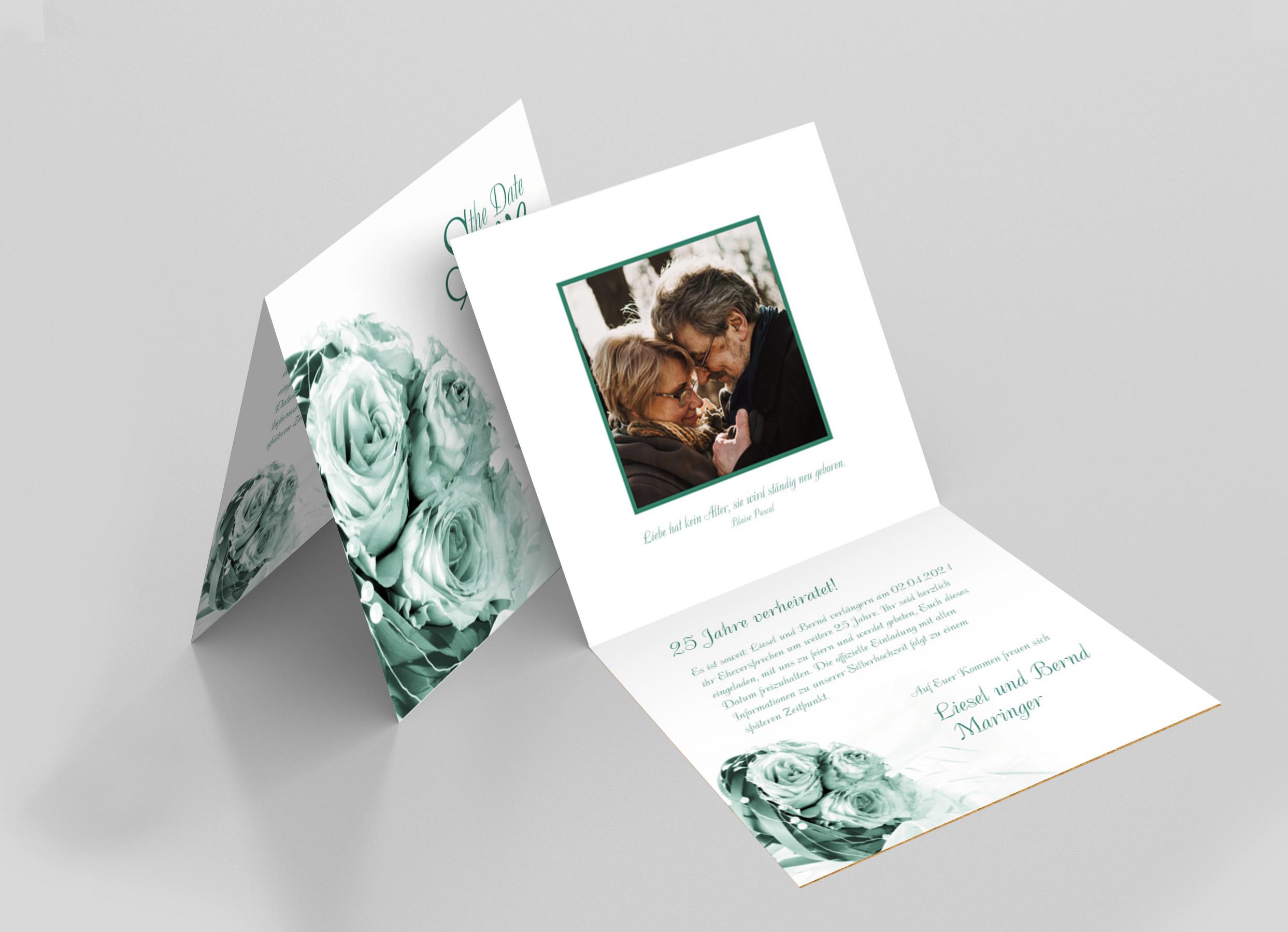 Save the Date Karte Silberhochzeit Hochzeitsstrauss