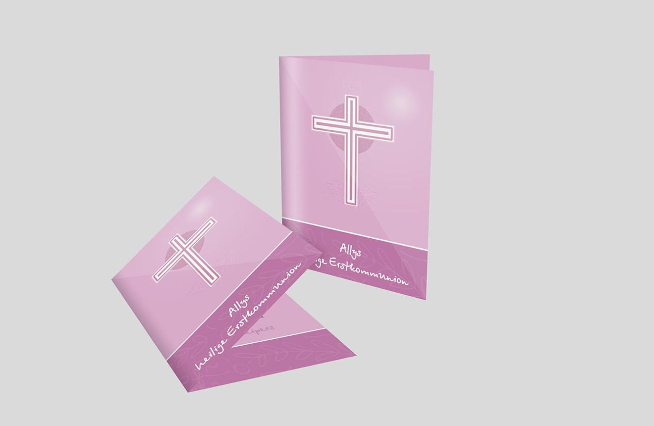 Einladungskarte Kommunion Elegantes Kreuz