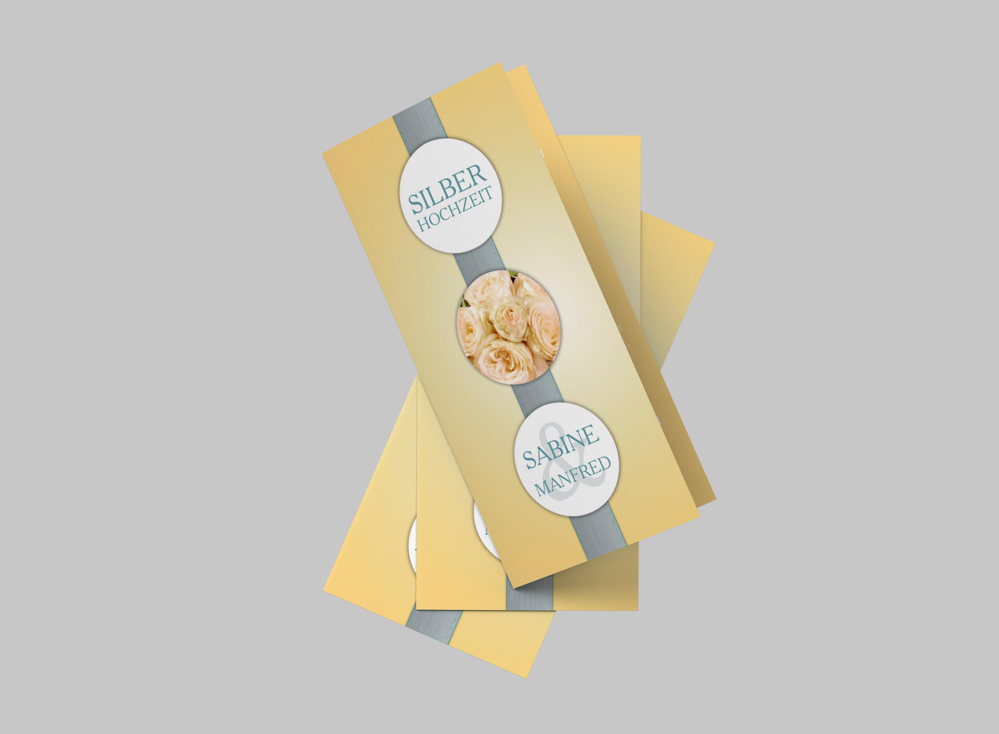 Einladungskarte Silberhochzeit Rosenband