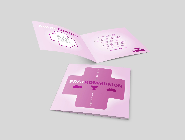 Einladungskarte Kommunion Religiöse Symbole