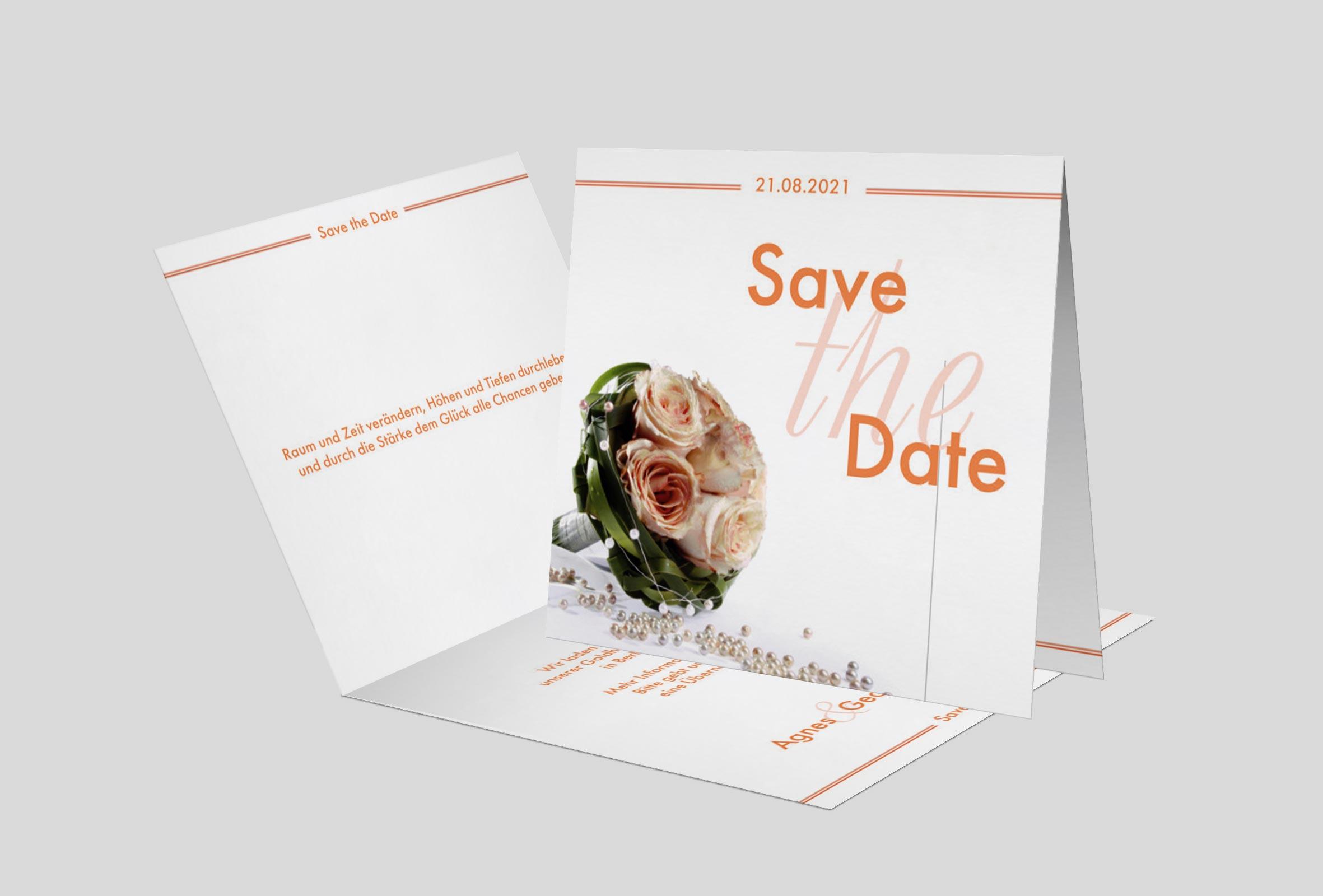 Save the Date Karte Goldhochzeit Hochzeitsstrauss