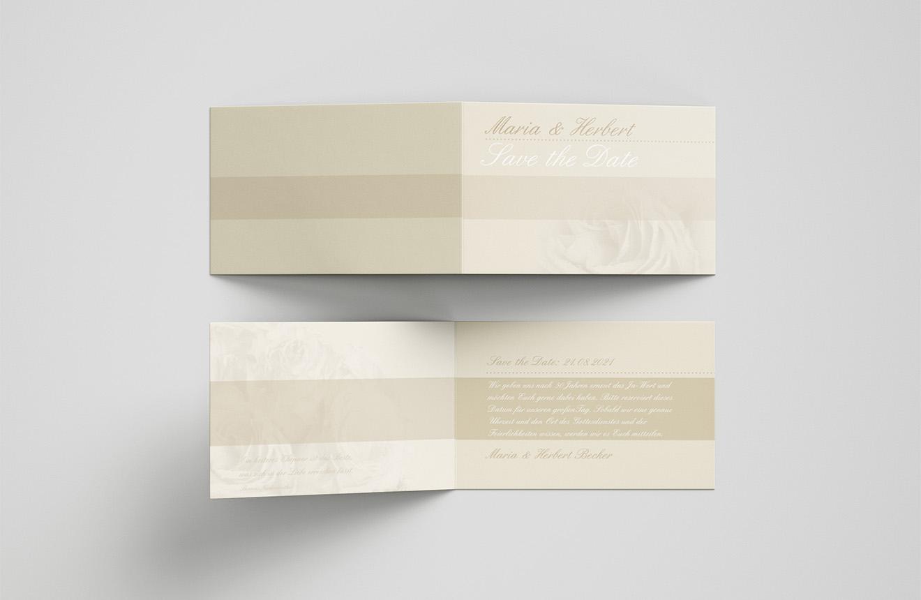 Save-the-Date-Karte Goldene Hochzeit Elegante Rose