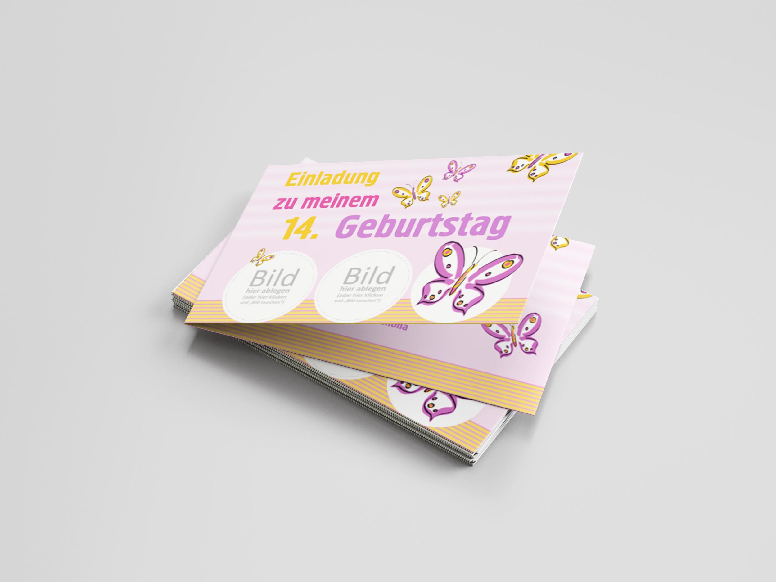 Einladungskarte Kindergeburtstag Schmetterlinge