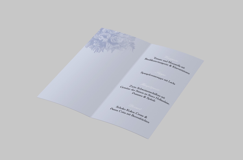 Menükarte Silberhochzeit Blumenstrauss Zeichnung