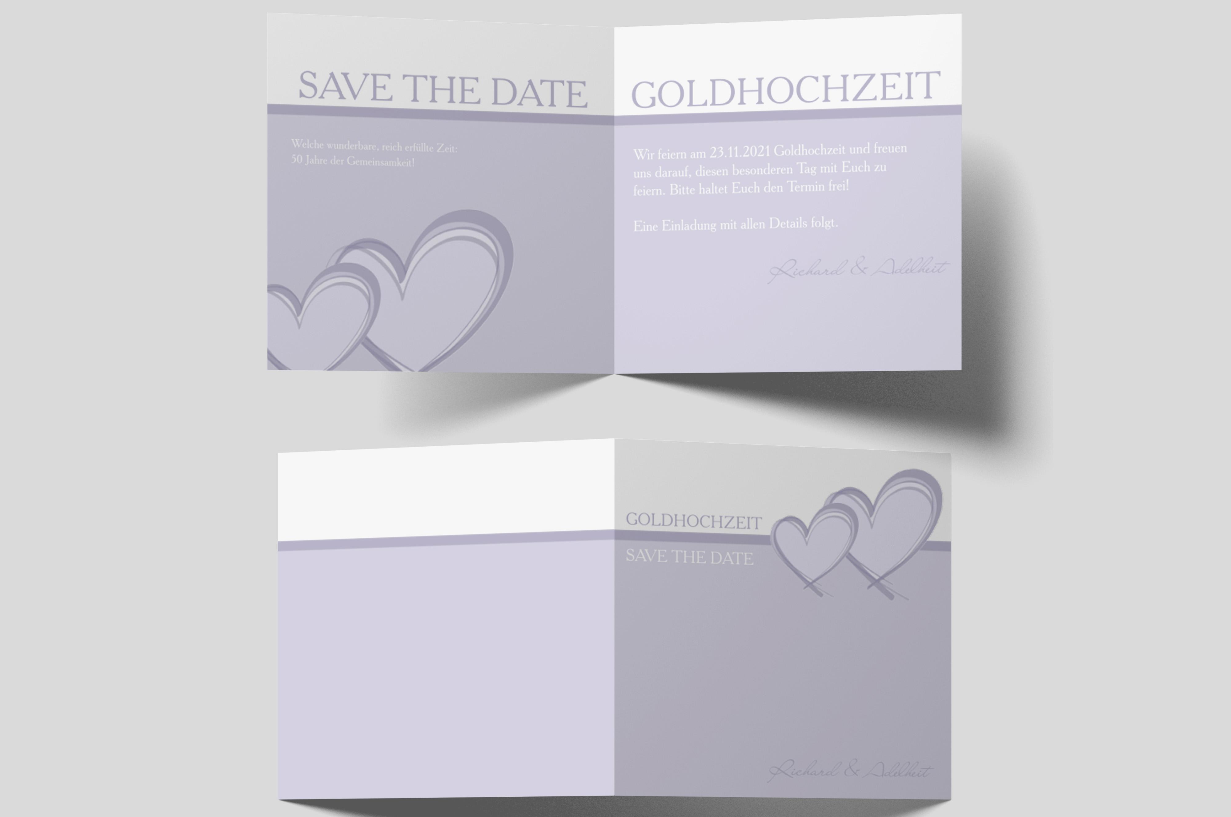 Save-the-Date Karte Goldene Hochzeit 2 Herzen
