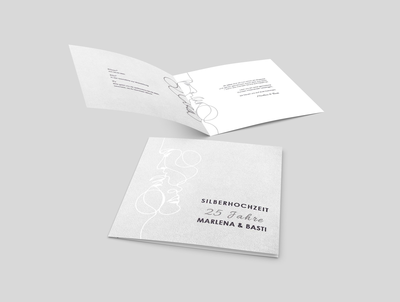 Einladungskarte Silberhochzeit Modern