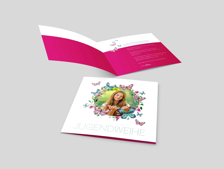 Einladungskarte Jugendweihe Schmetterlingkranz