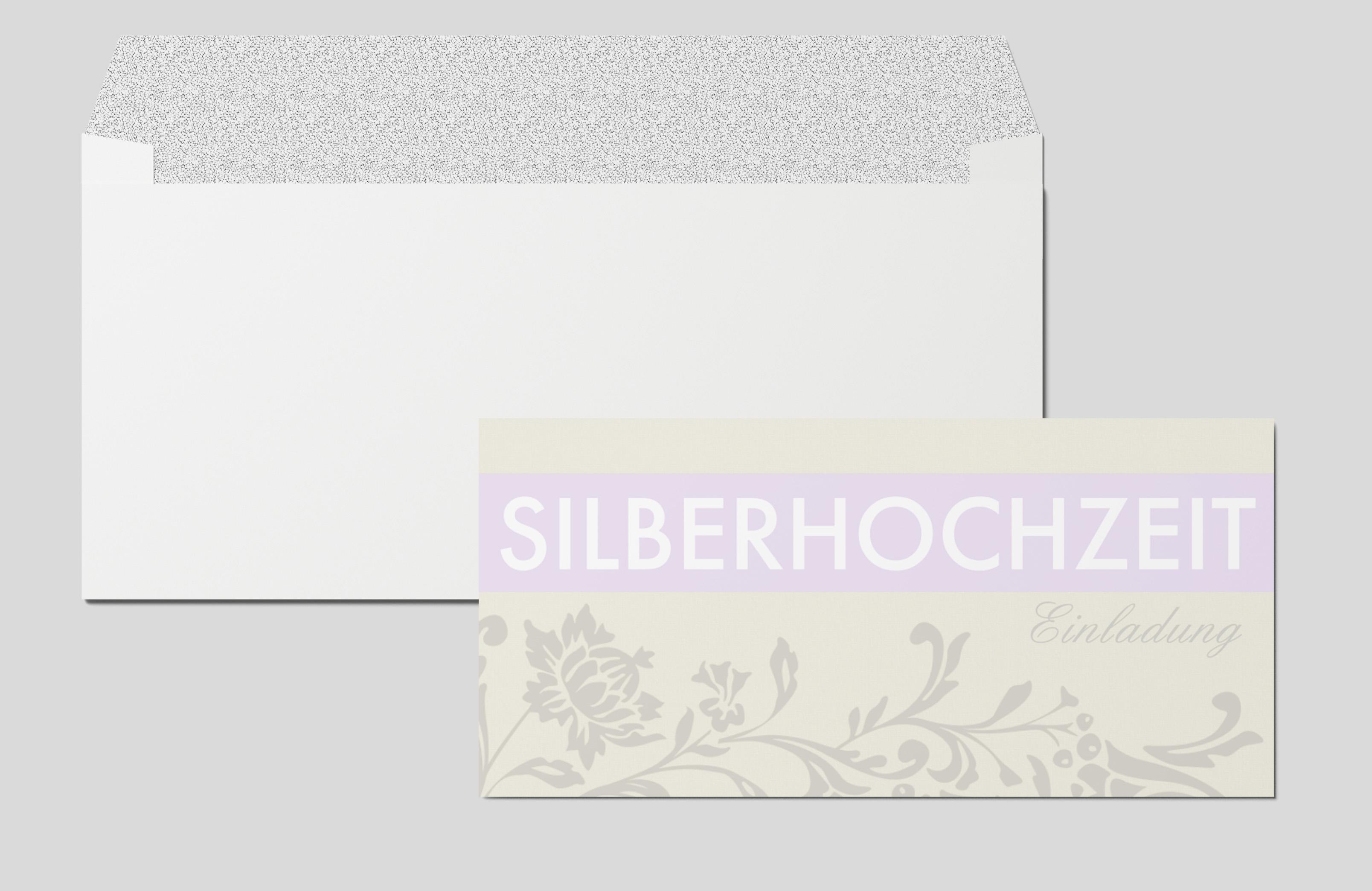 Einladungskarte Silberhochzeit Blumenornament