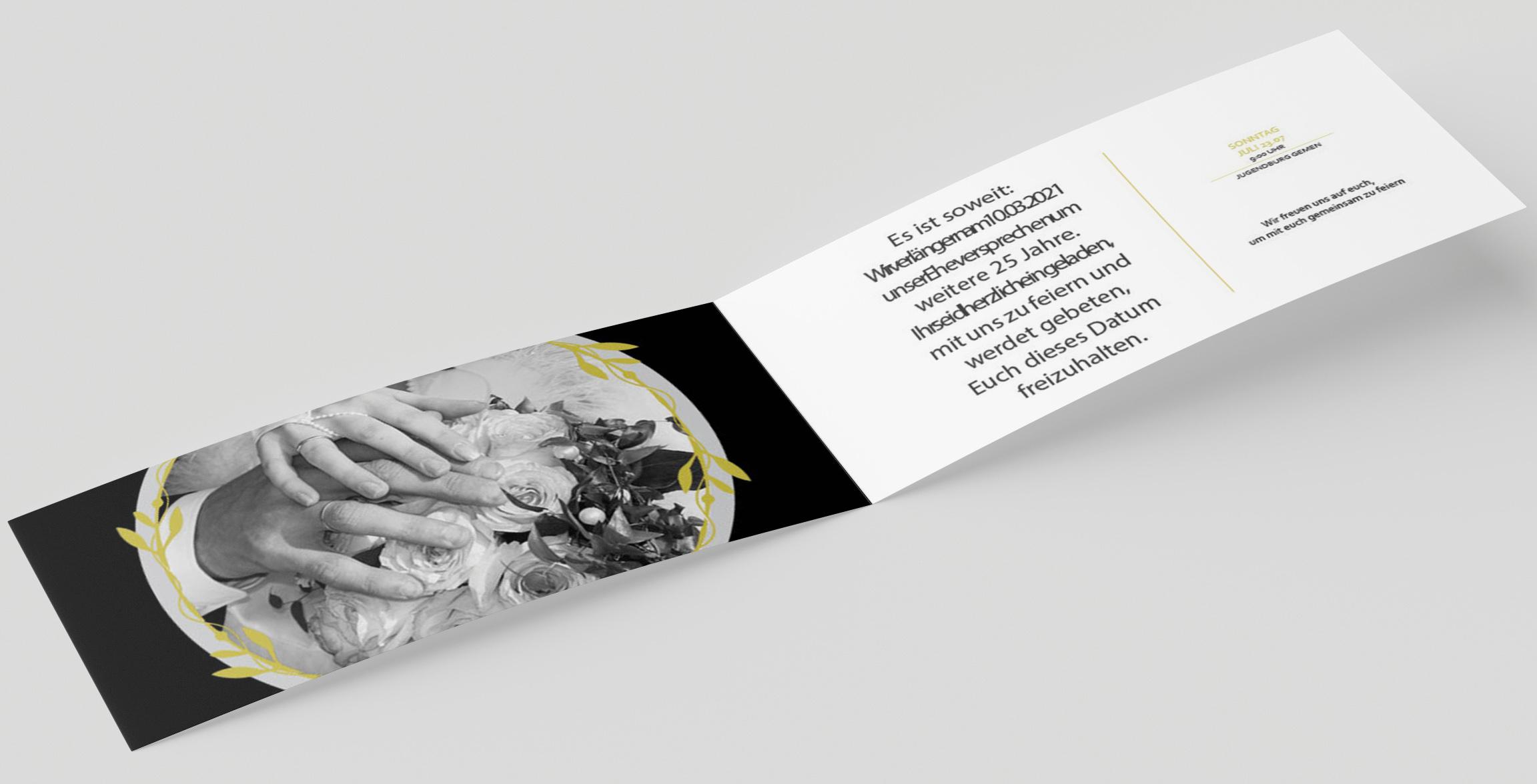 Einladungskarte Hochzeit Goldener Kranz