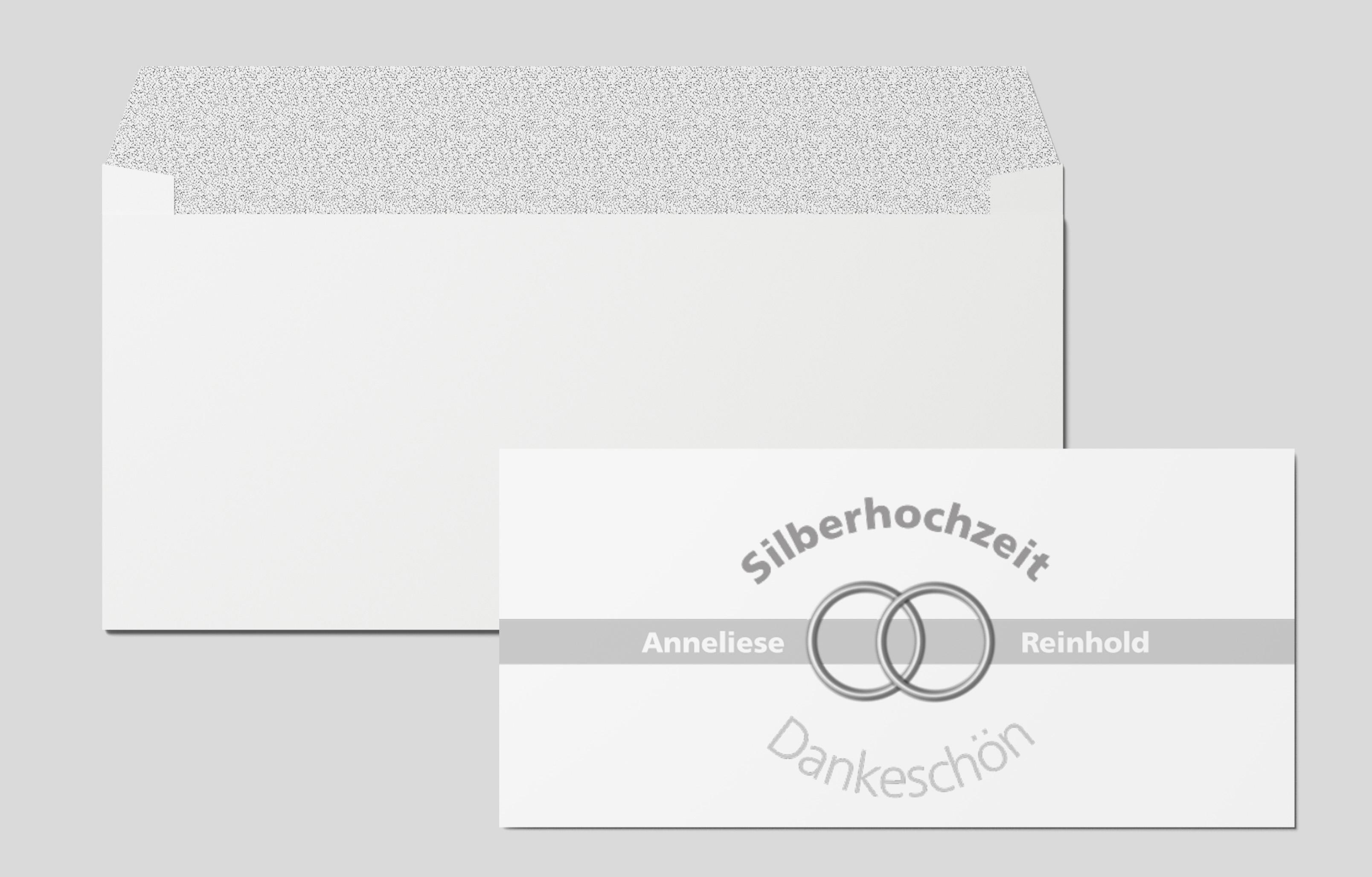 Danksagungskarten Silberhochzeit Eheringe