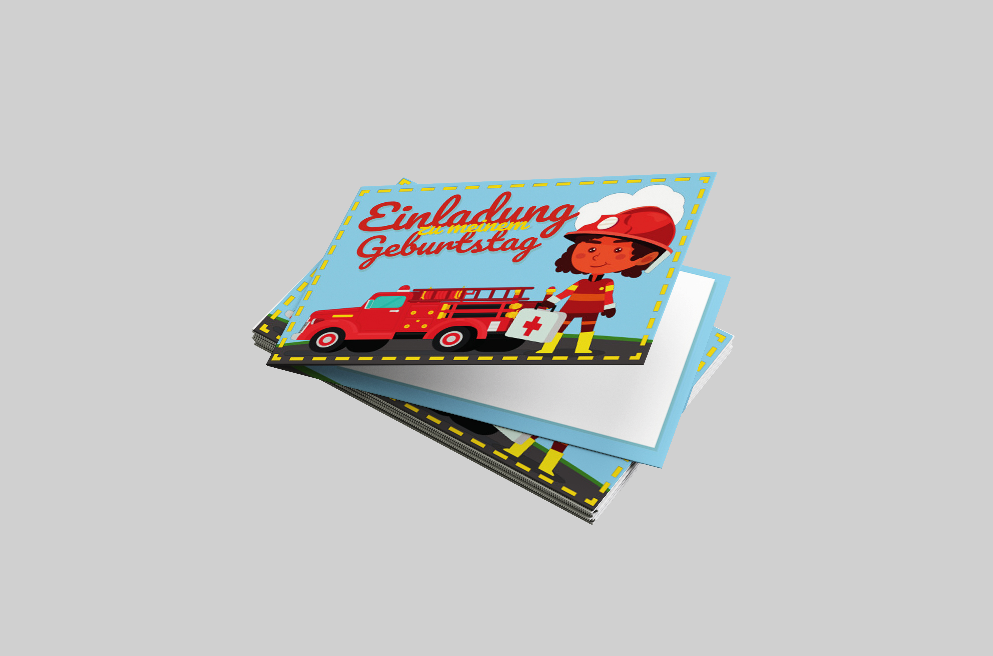 Kindergeburtstagseinladung Feuerwehr Mädchen