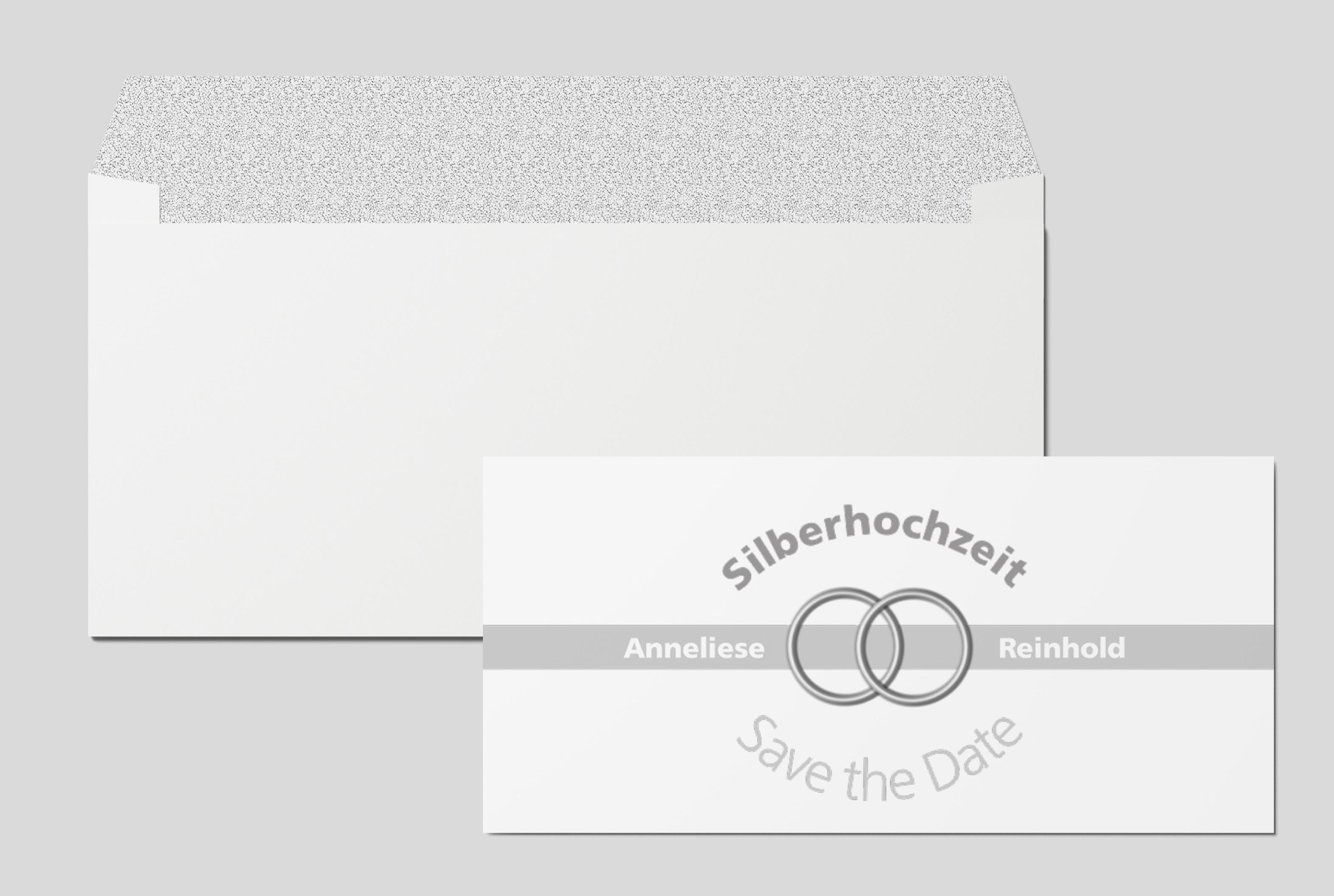 Save-the-Date-Karte Silberhochzeit Eheringe