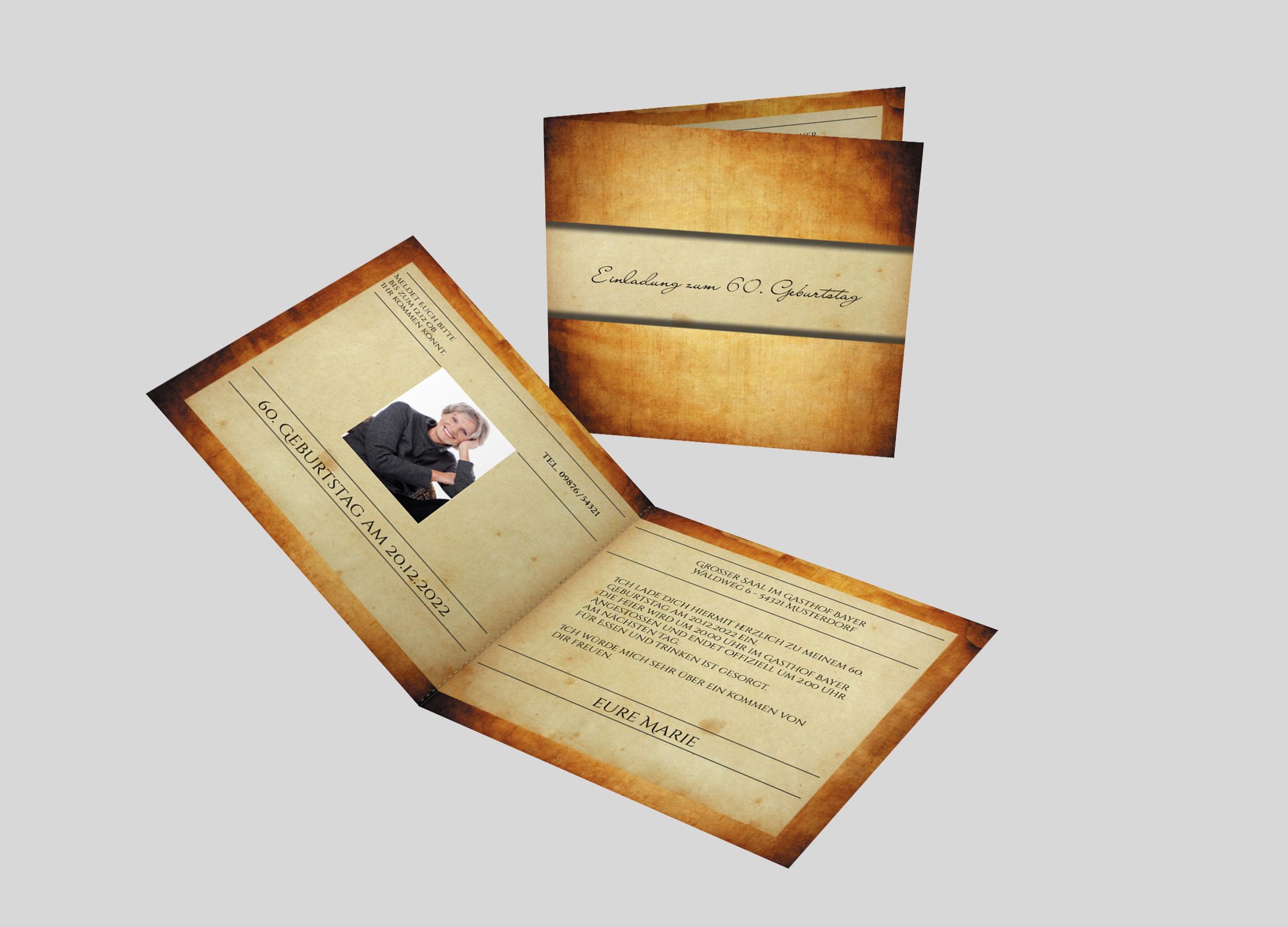 Einladungskarte Geburtstag Antikes Papier