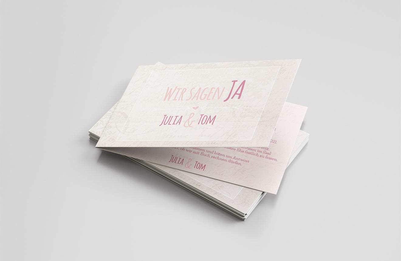 Einladungskarte Hochzeit Wir sagen Ja