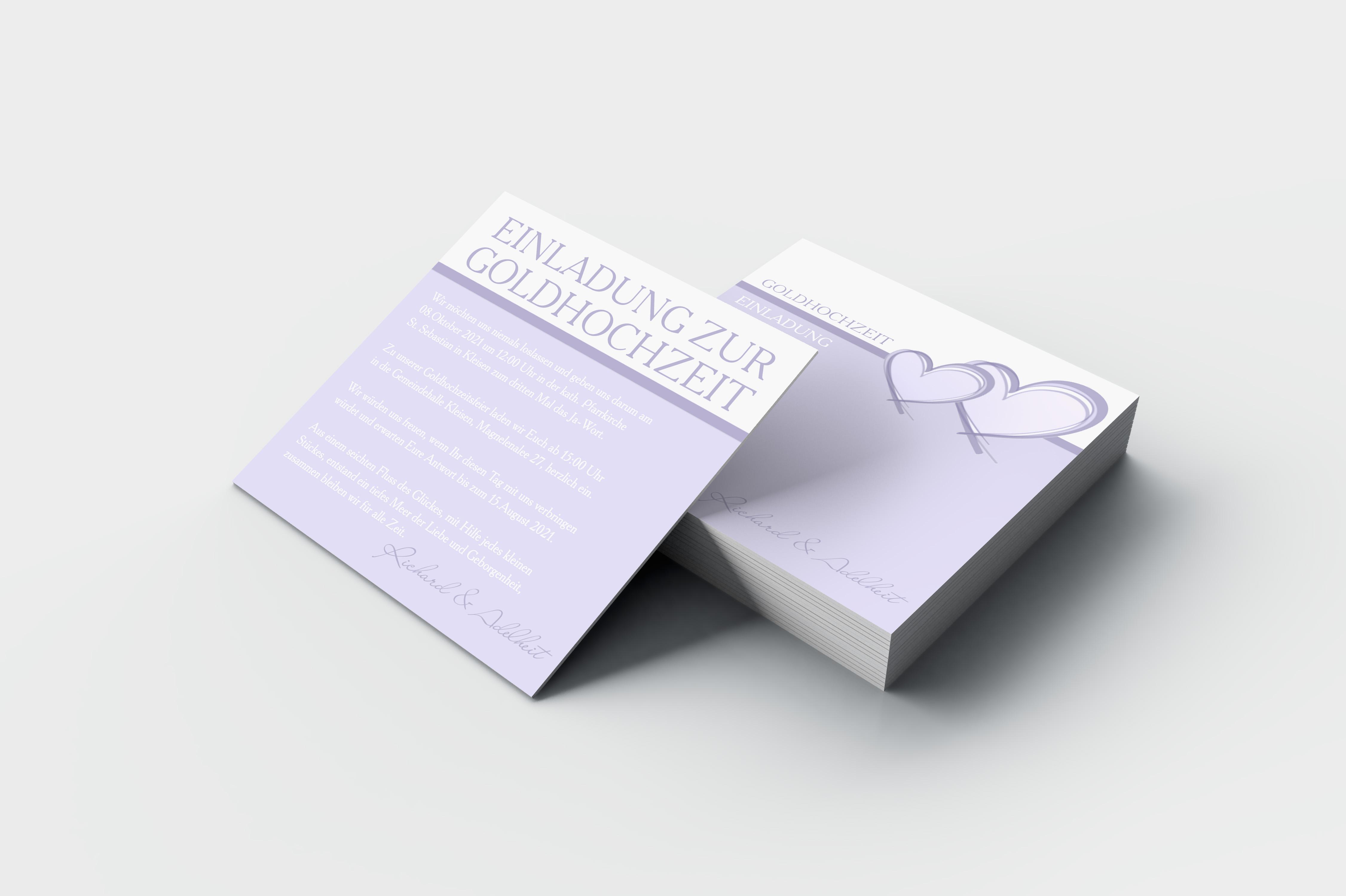 Einladungskarte Goldene Hochzeit 2 Herzen