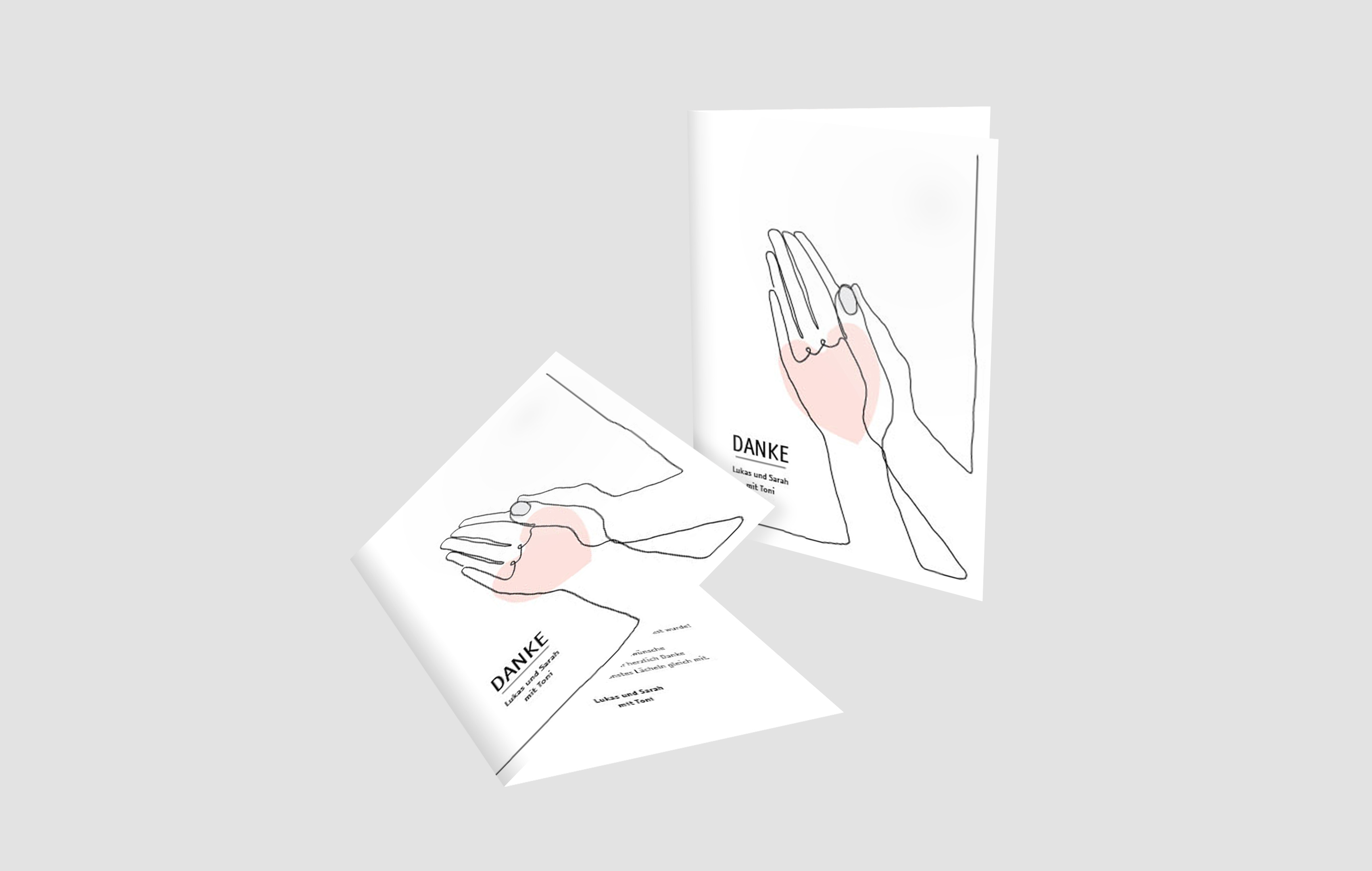 Dankeskarte Hochzeit Praying drawn hands