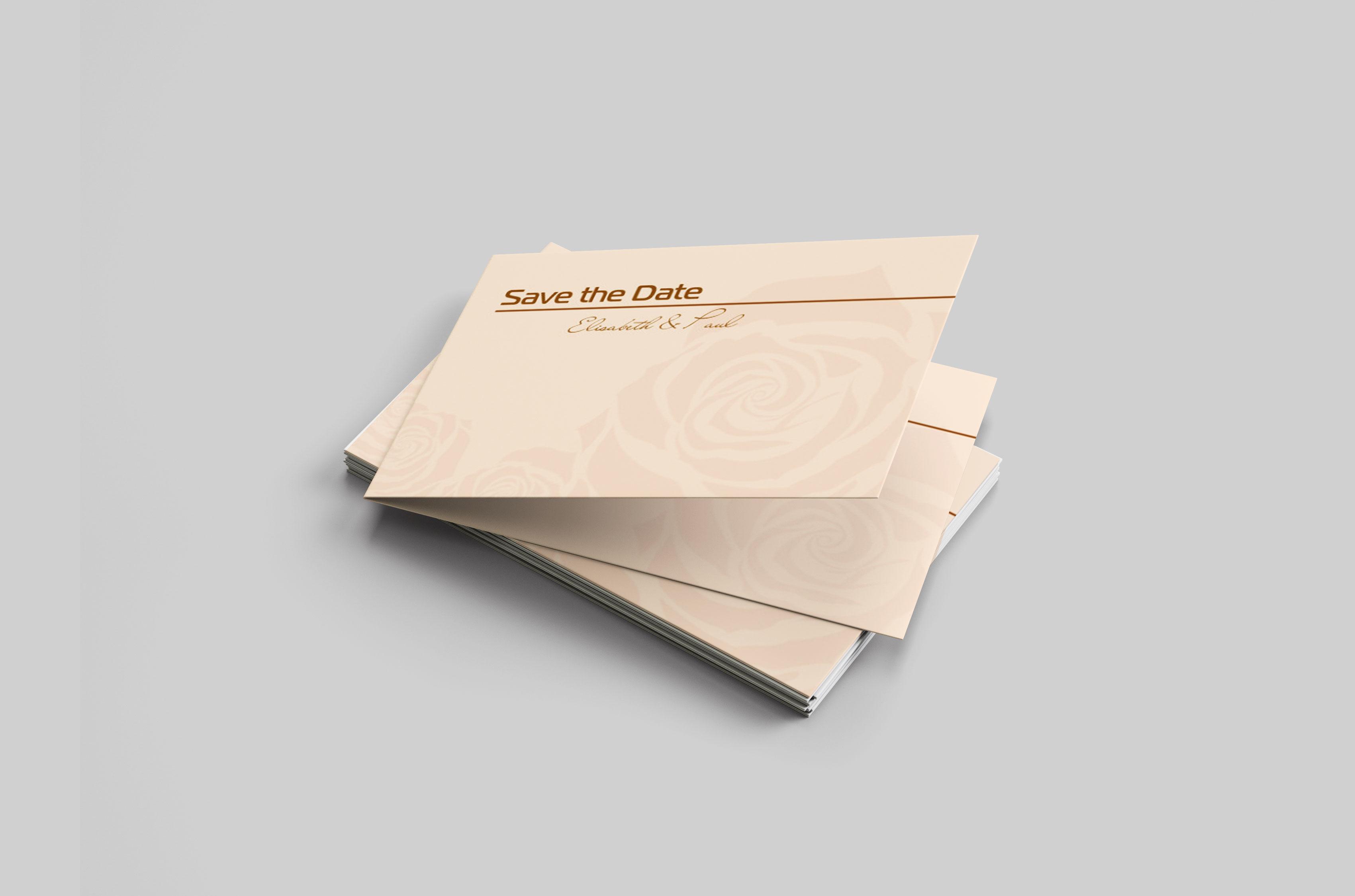 Save the Date Karte Goldhochzeit Rosensilhouette